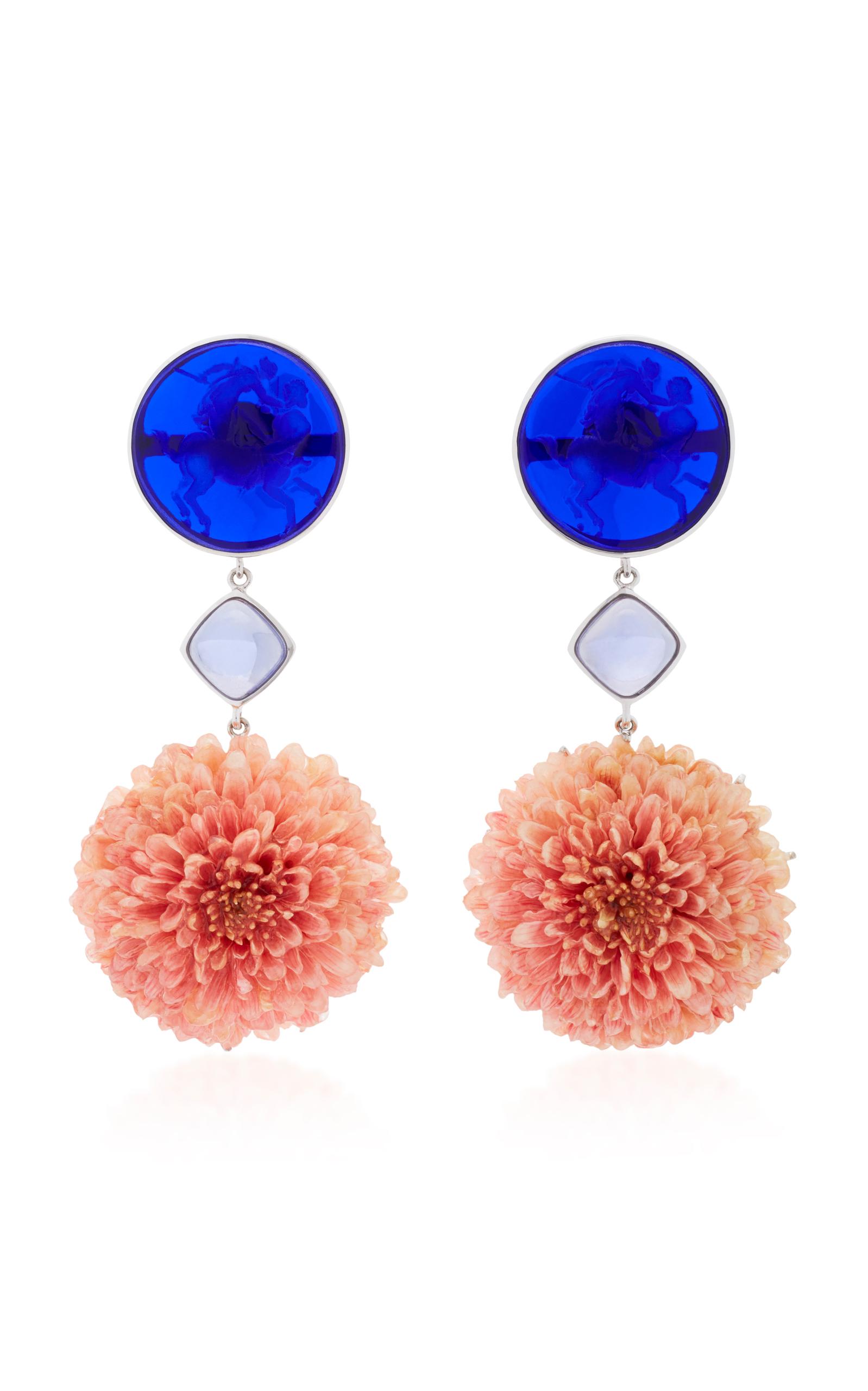 Women's 18K White Gold Dark Blue Venetian Glass Cameos Earrings