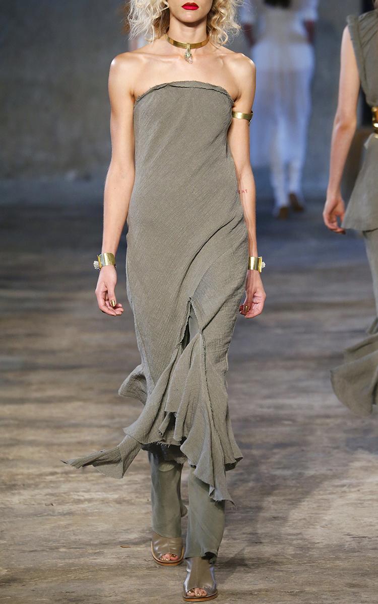 Crush Linen Strapless Midi Dress by