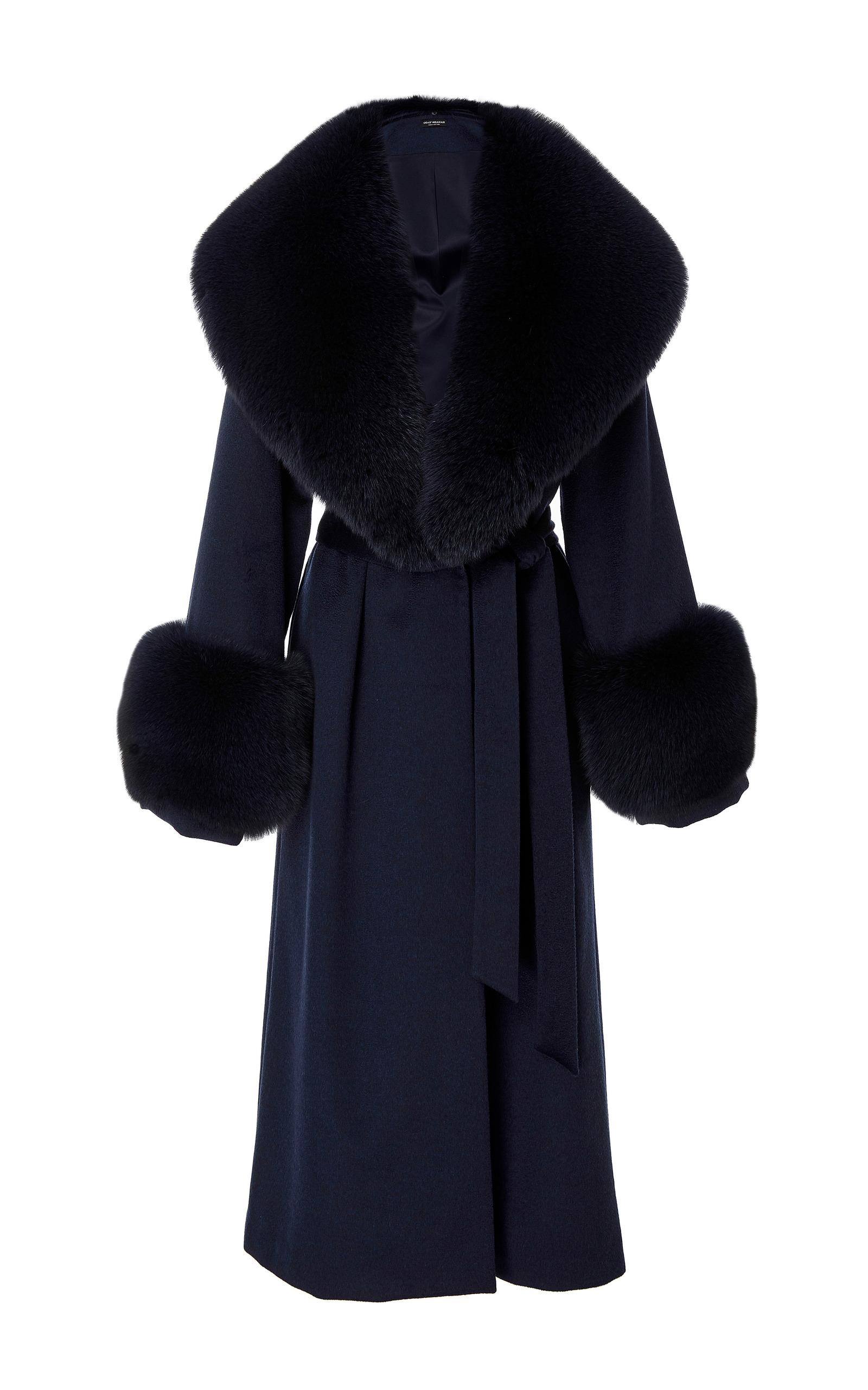 unique design buying new best wholesaler Wool Coat With Fox Fur Collar And Cuffs by Oday Shakar | Moda Operandi