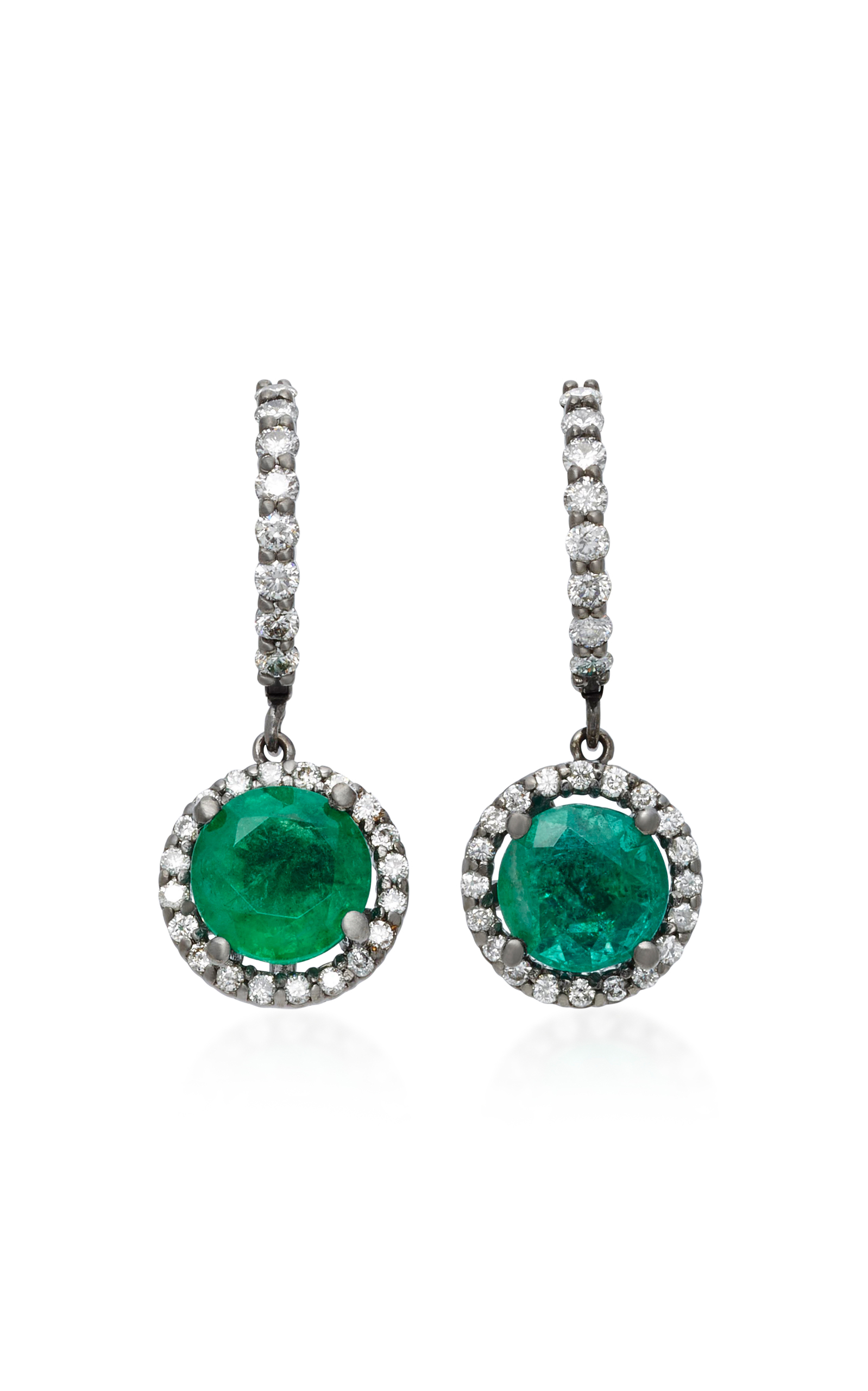 Women's Planet 18K White Gold; Diamond and Emerald Earrings