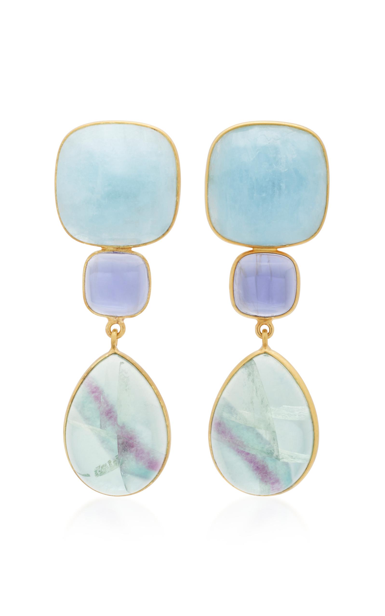 Women's 18K Gold; Lolith and Fluorite Earrings