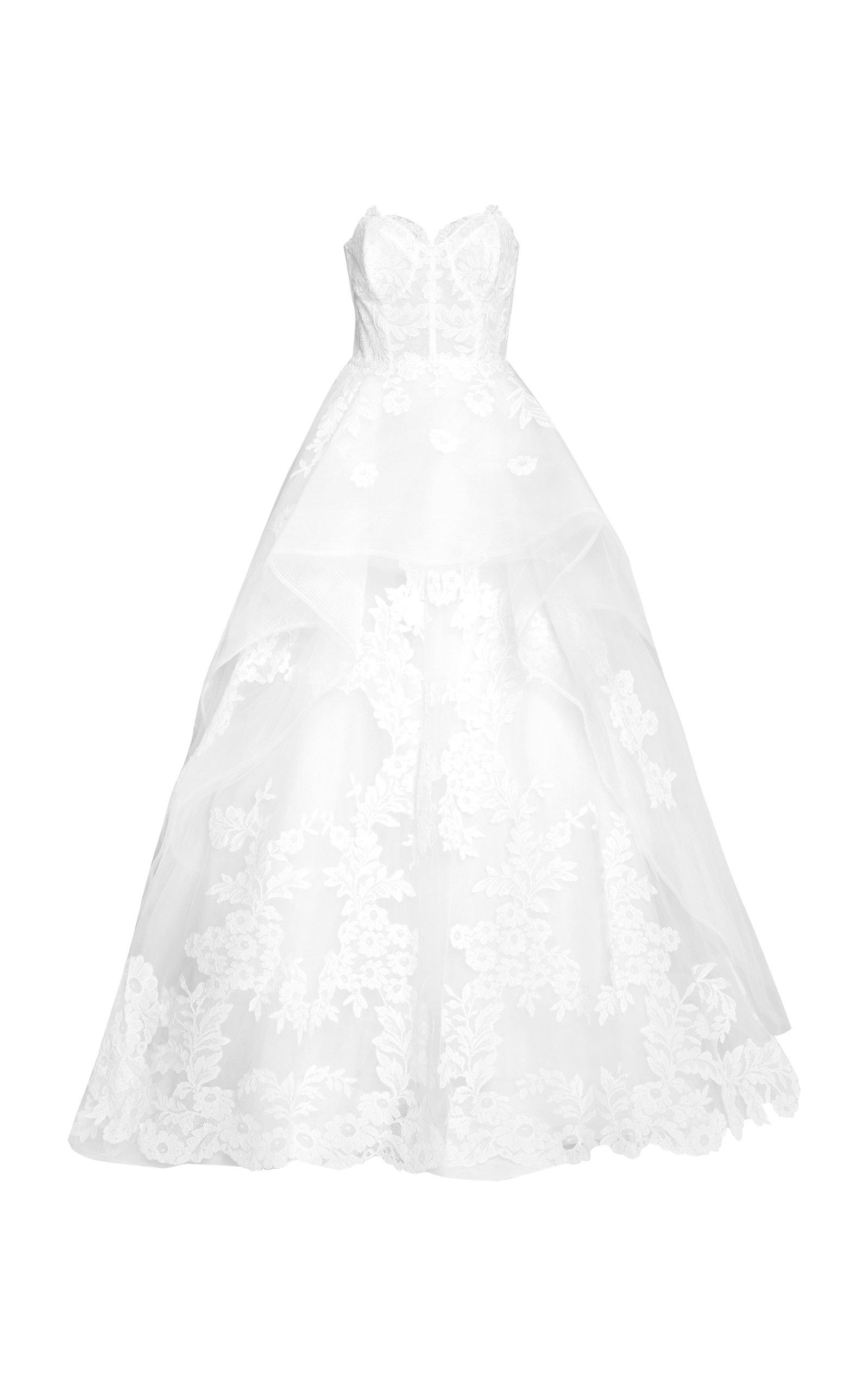 Carolina Herrera – Women's The Adeline Floral-Embroidered Gown – White – Moda Operandi