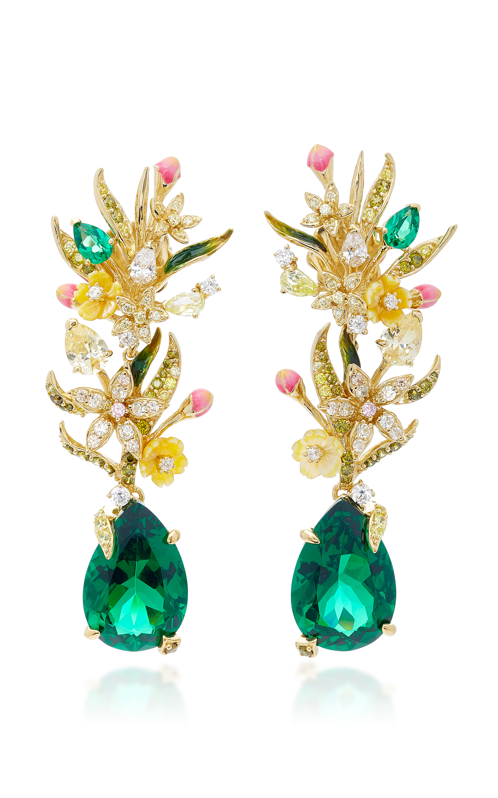 Anabela Chan - Women's Exclusive Posie 18K Yellow Gold Multi-Stone Earrings - Green - Moda Operandi