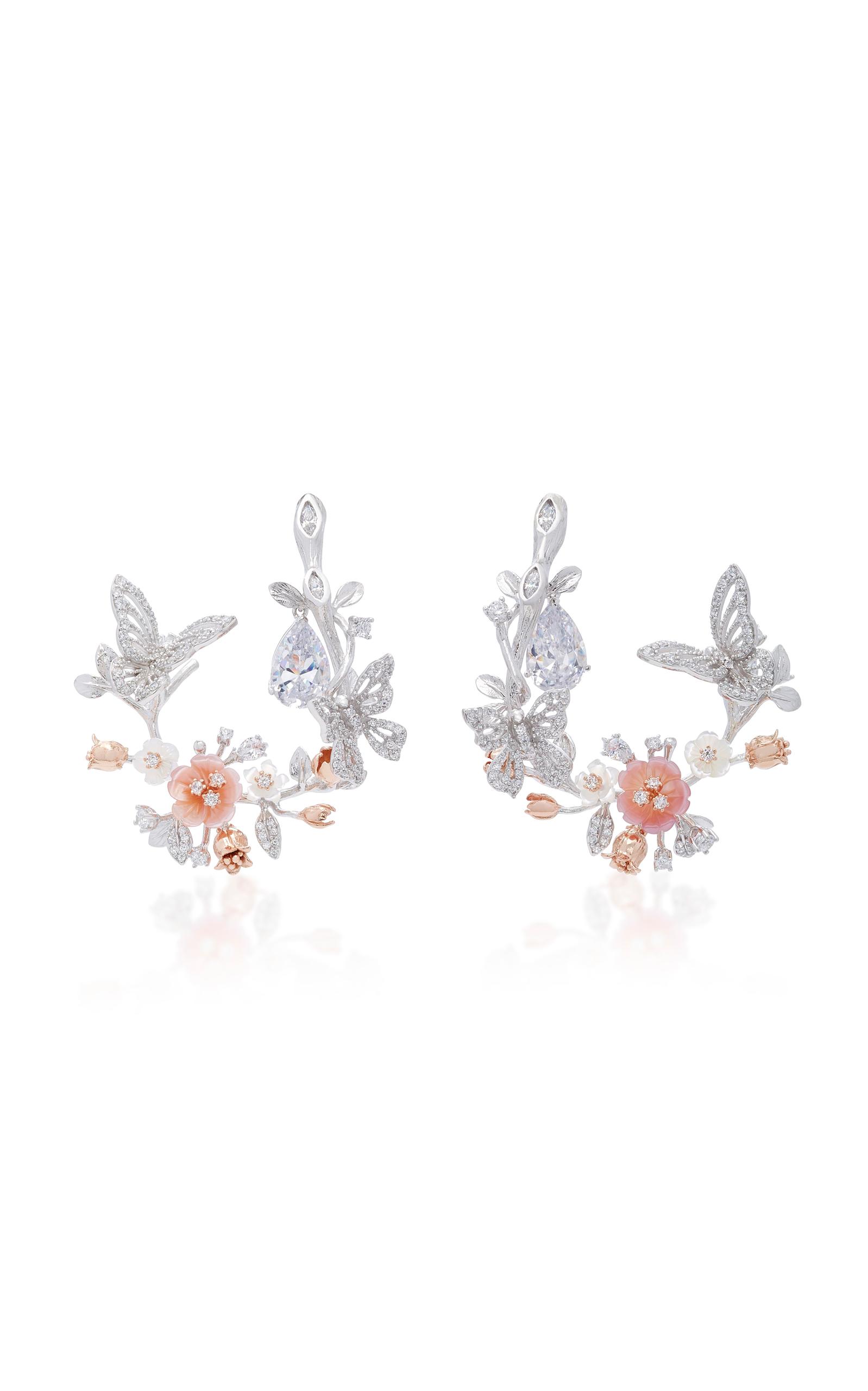 Women's Exclusive 18K White Gold Butterfly Garland Earrings