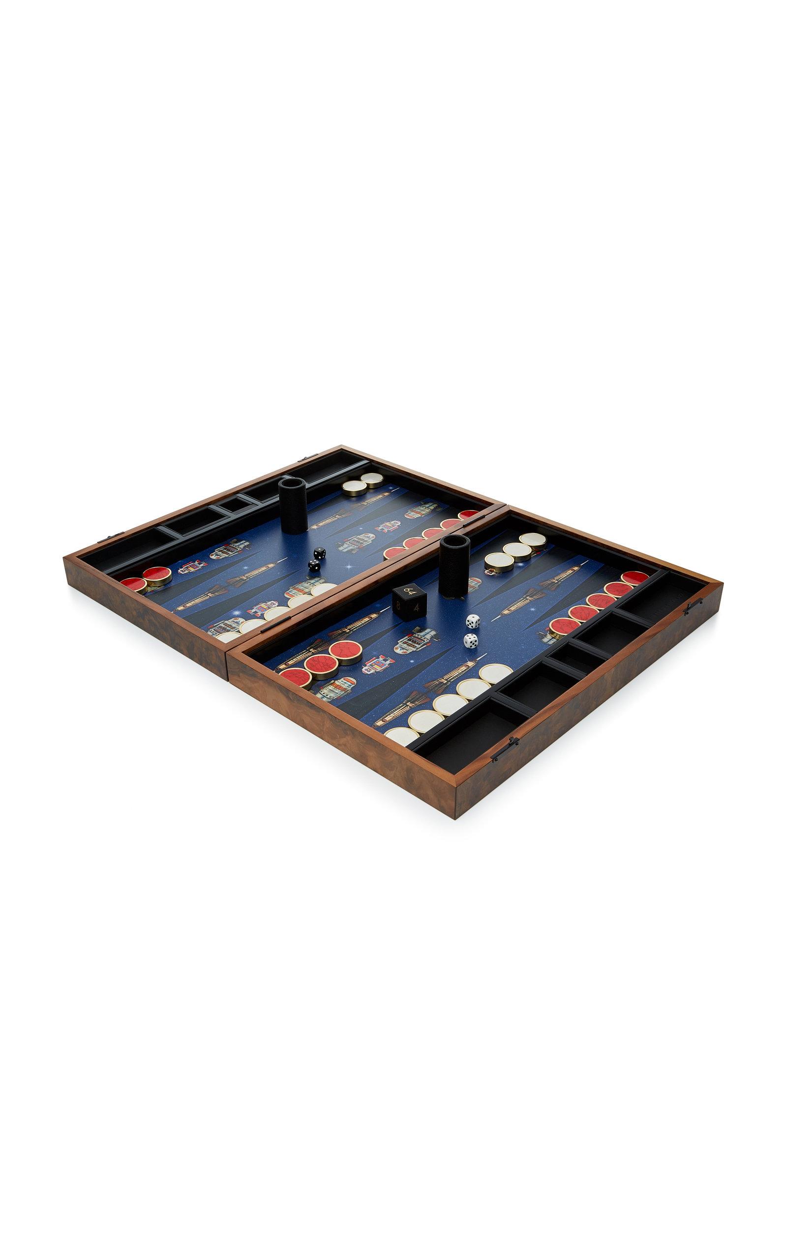 Alexandra Llewellyn – M'O Exclusive Robot Backgammon Set – Color: Blue – Material: walnut burr –  semi precious stones – Moda Operandi