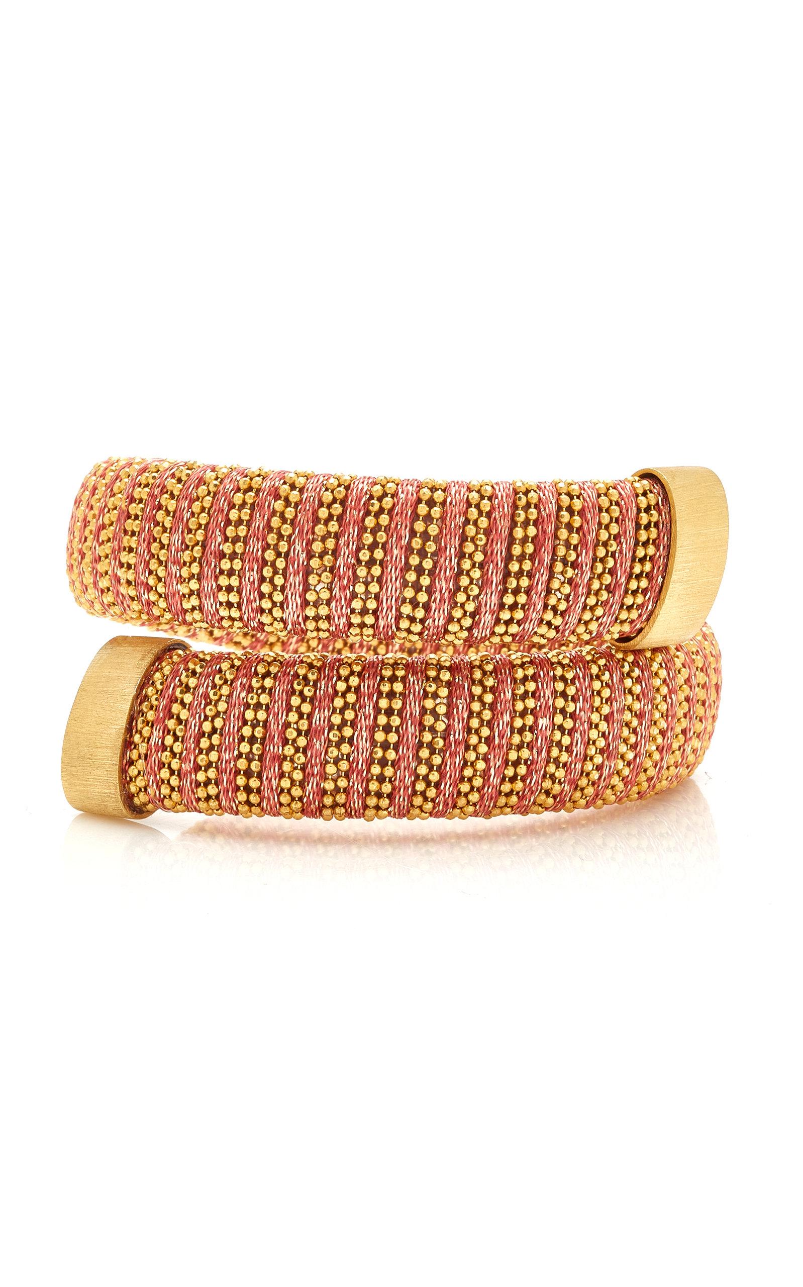 Carolina Bucci – Women's Coral Lurex Caro Gold-Plated Bracelet  – Pink – Moda Operandi