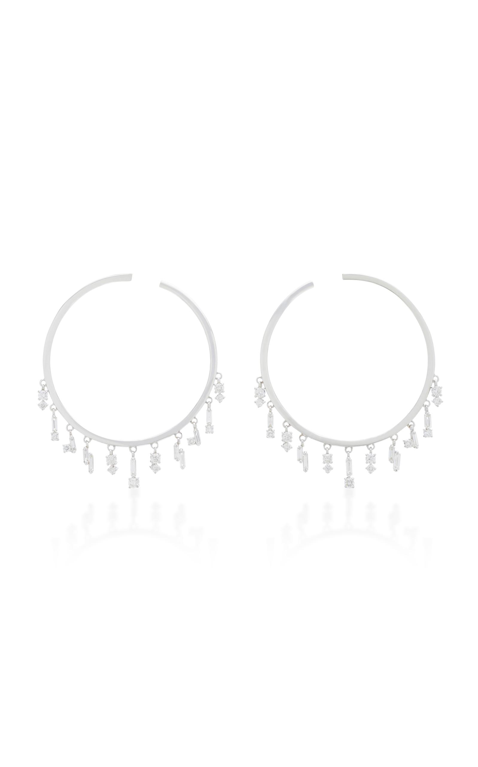 Suzanne Kalan – Women's 18K White Gold and Diamond Hoop Earrings  – White – Moda Operandi