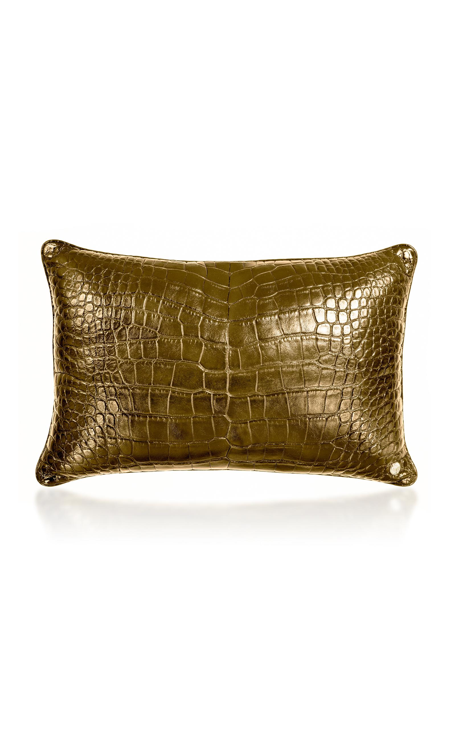Stalvey – 24K Gold Crocodile Pillow – Color: Gold – Material: 24K GOLD ALLIGATOR – Moda Operandi