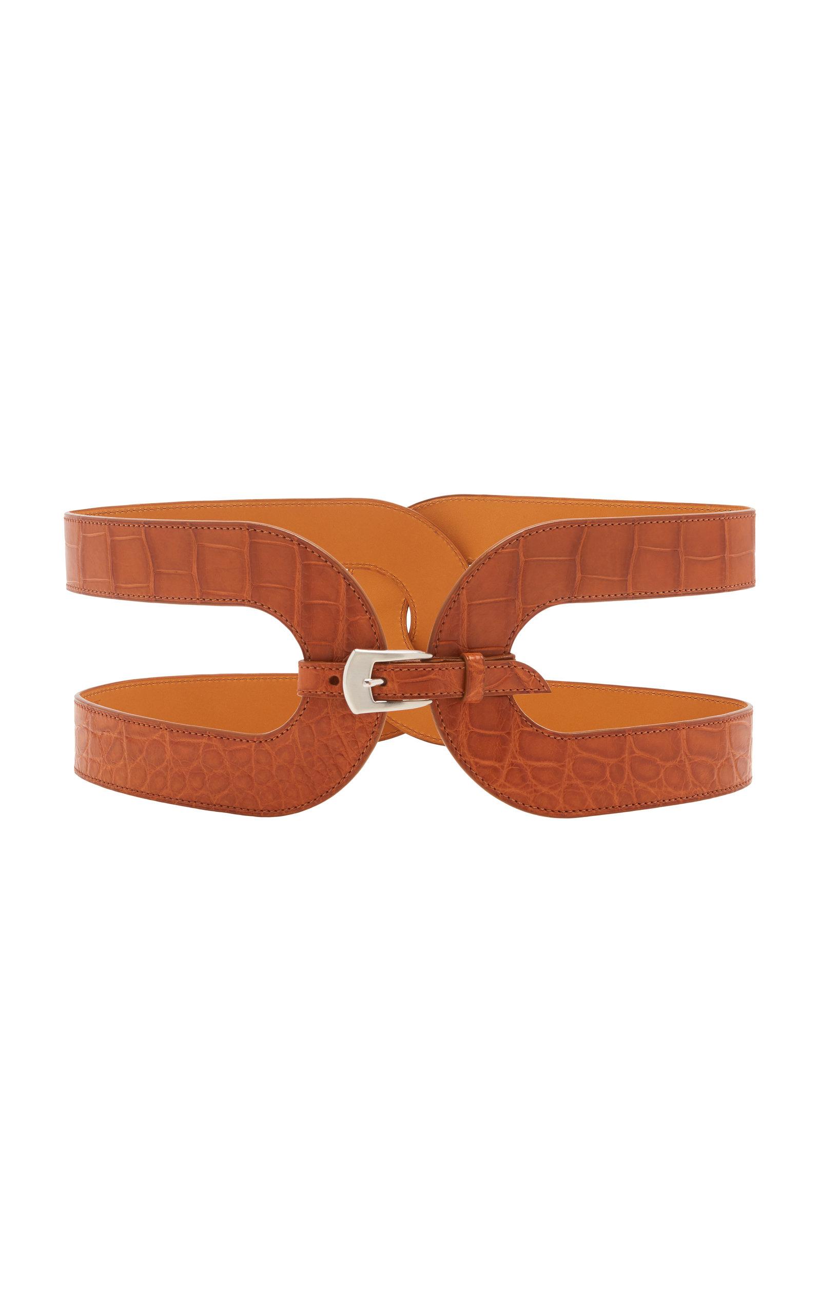Maison Vaincourt – Women's Exclusive Crocodile Waist Belt – Brown/black – Moda Operandi