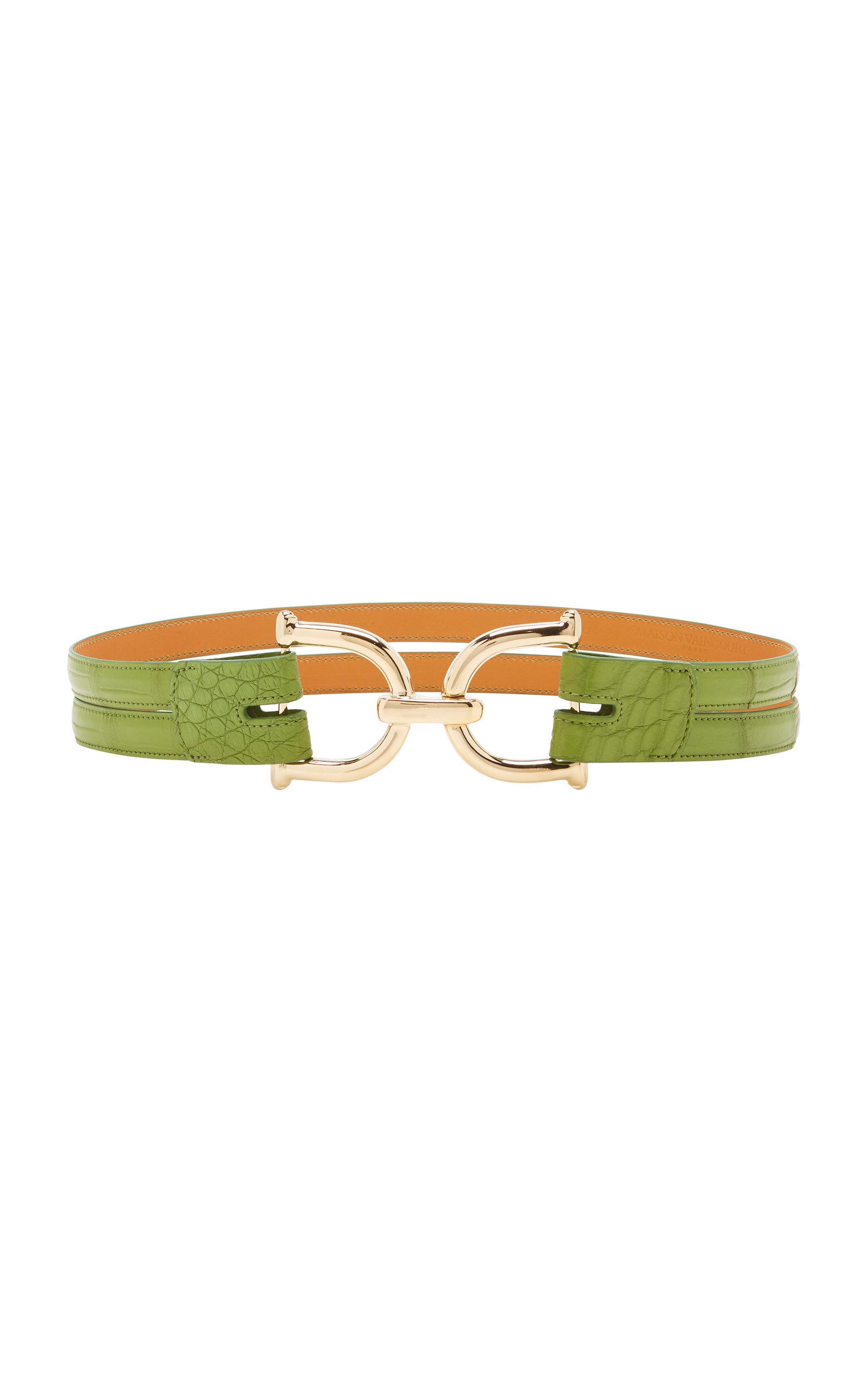 Maison Vaincourt – Women's Crocodile Waist Belt – Green – Moda Operandi