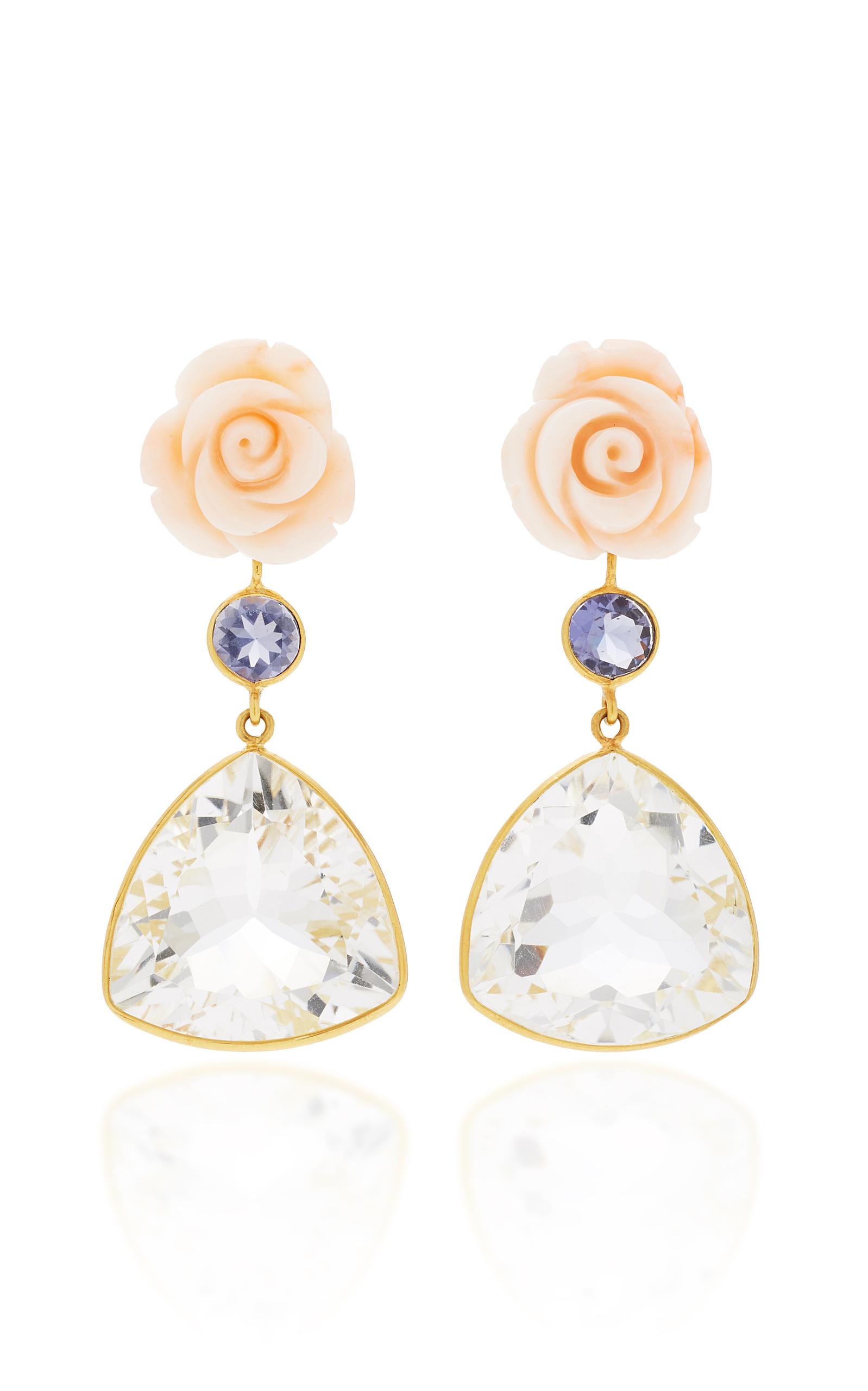 Bahina – Women's 18K Gold Pink Coral Flower; Lolite; Rock Crystal Earrings – Pink – Moda Operandi