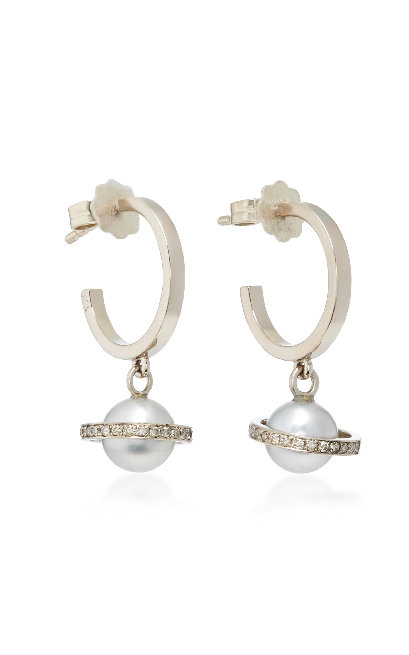 Women's Mirco Saturn White Gold; Diamond and Pearl Hoops