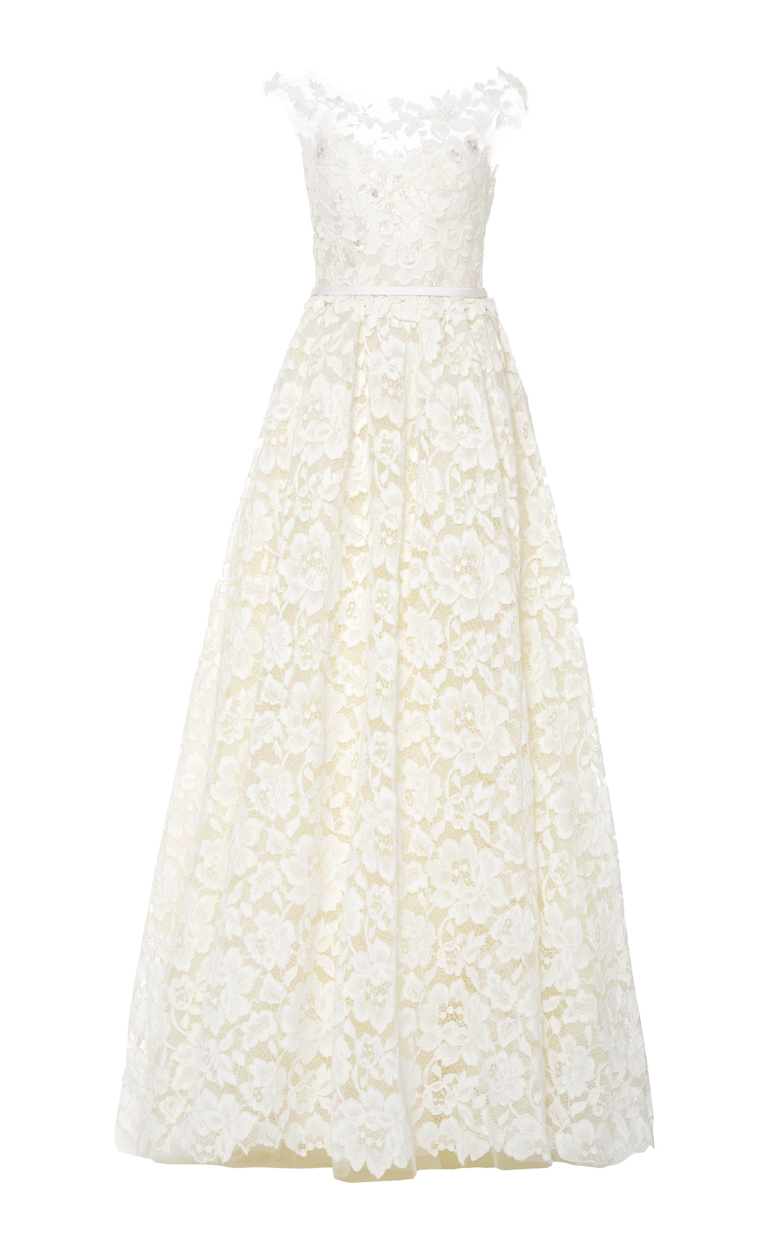 Buy Mira Zwillinger Emily Floral-Appliquéd Lace Gown online, shop Mira Zwillinger at the best price