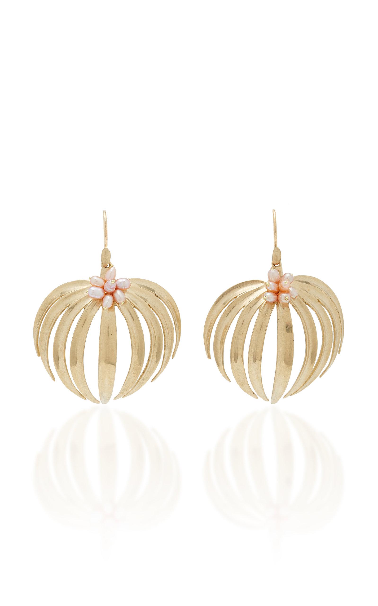 Women's Palm 14K Gold Pearl Earrings