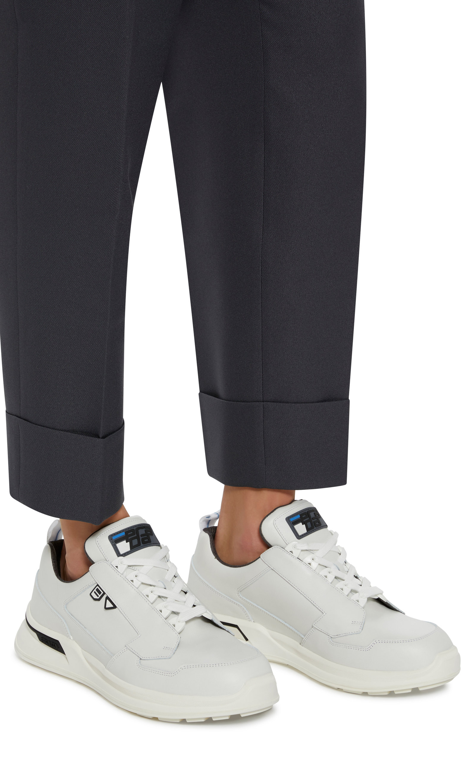 Lace-Up White Work Sneakers By Prada