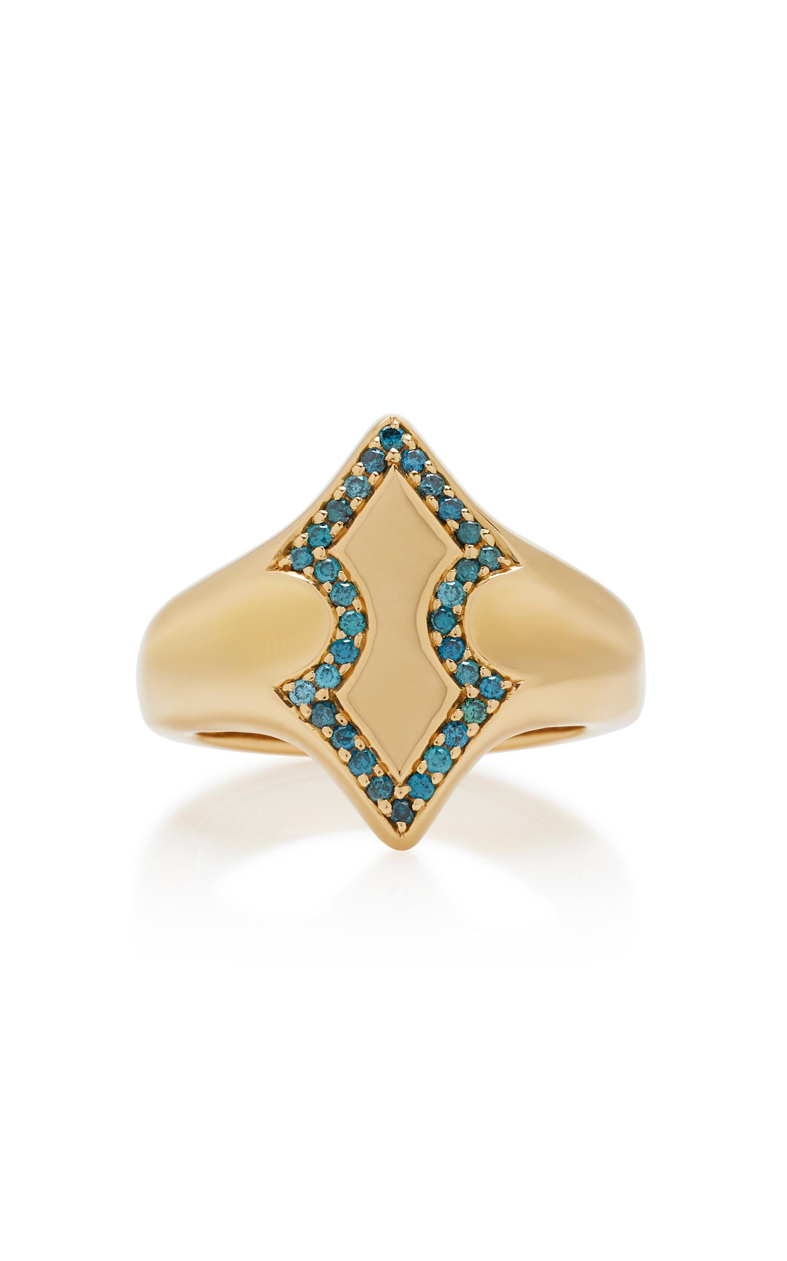 Women's Adina 18K Gold Diamond Signet Ring