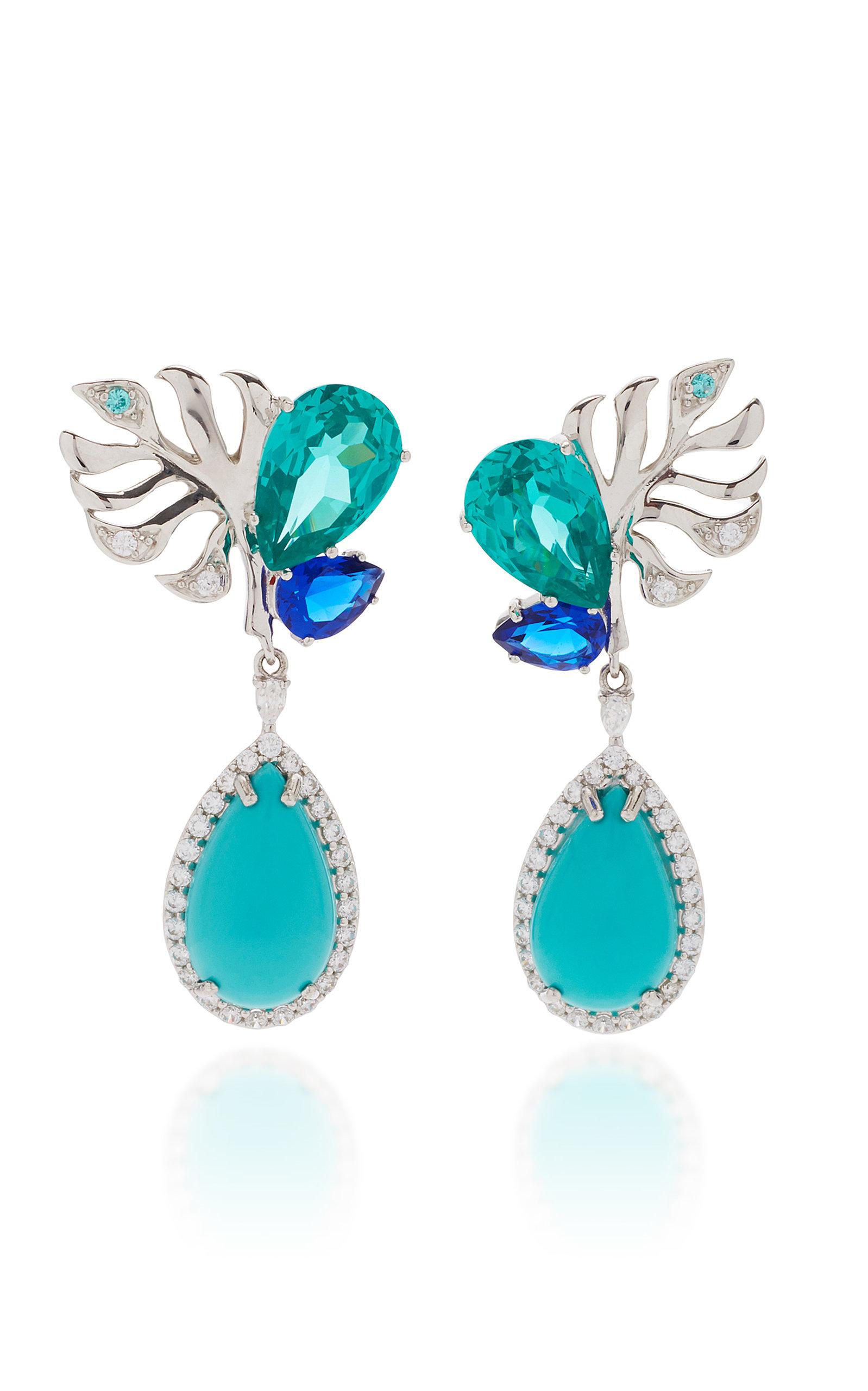 Women's Exclusive Palm 18K White Gold Multi-Stone EarringsÂ