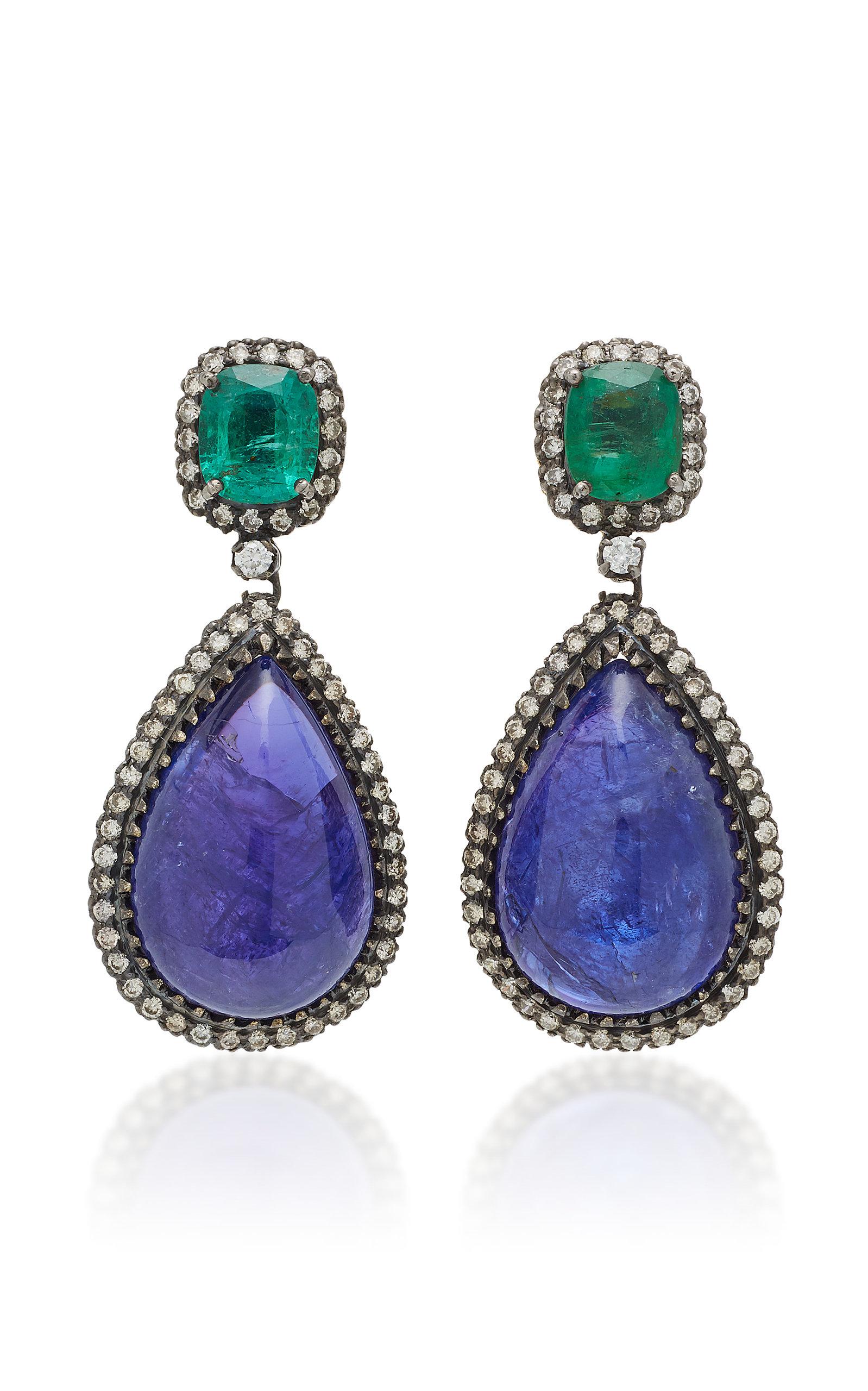 Women's 18K Gold Multi-Stone Earrings