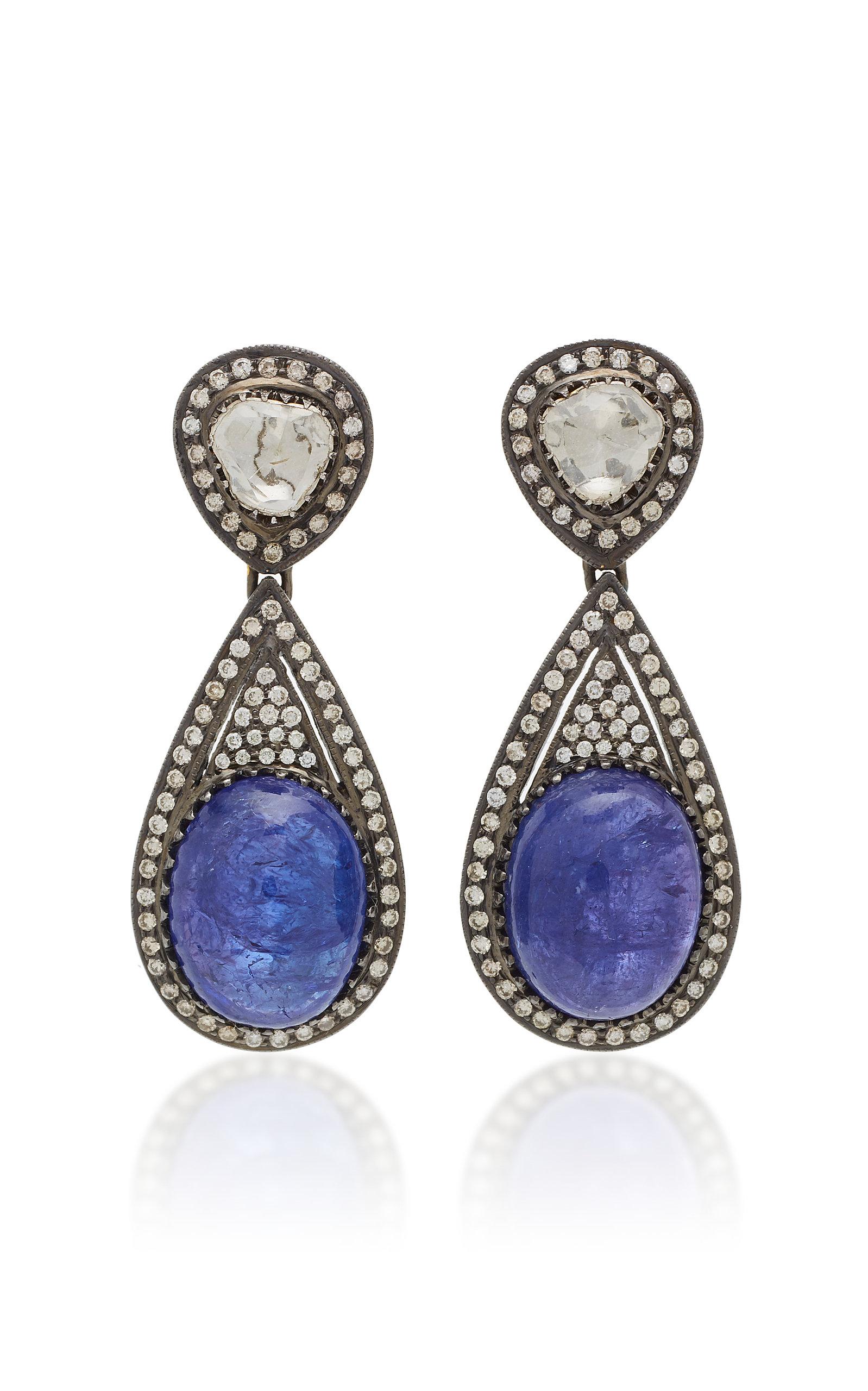 Women's 18K Gold Tanzanite And Diamond Earrings