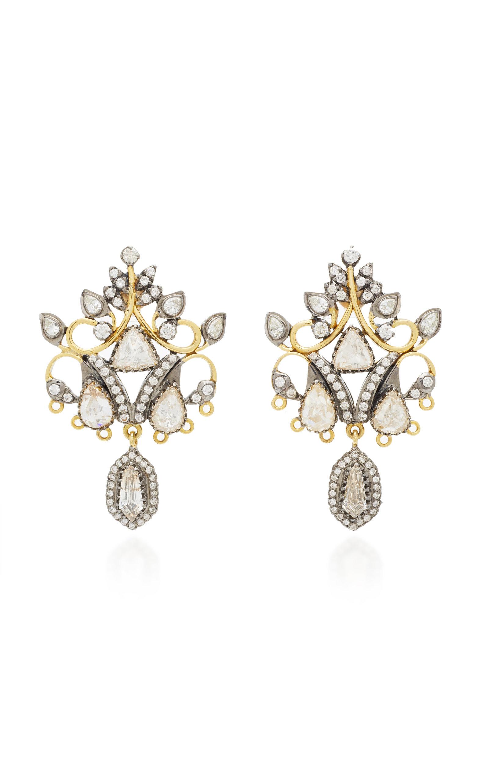 Women's 18K Black And Yellow Gold Diamond Earrings