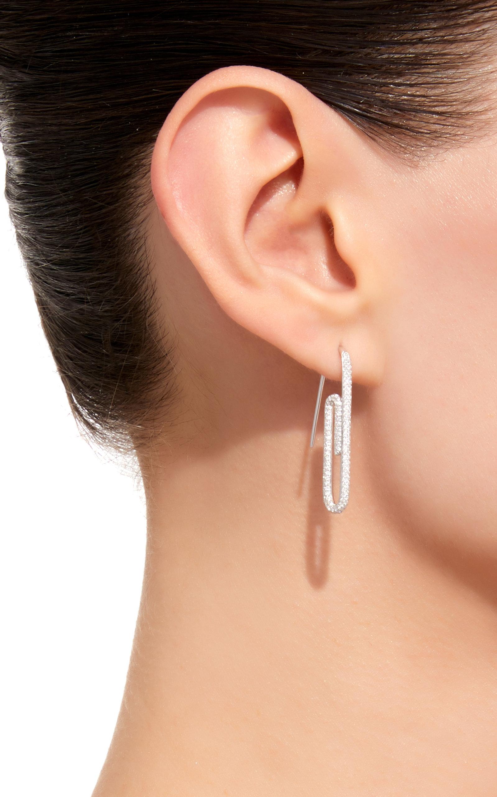 Single Diamond Paper Clip Earring By
