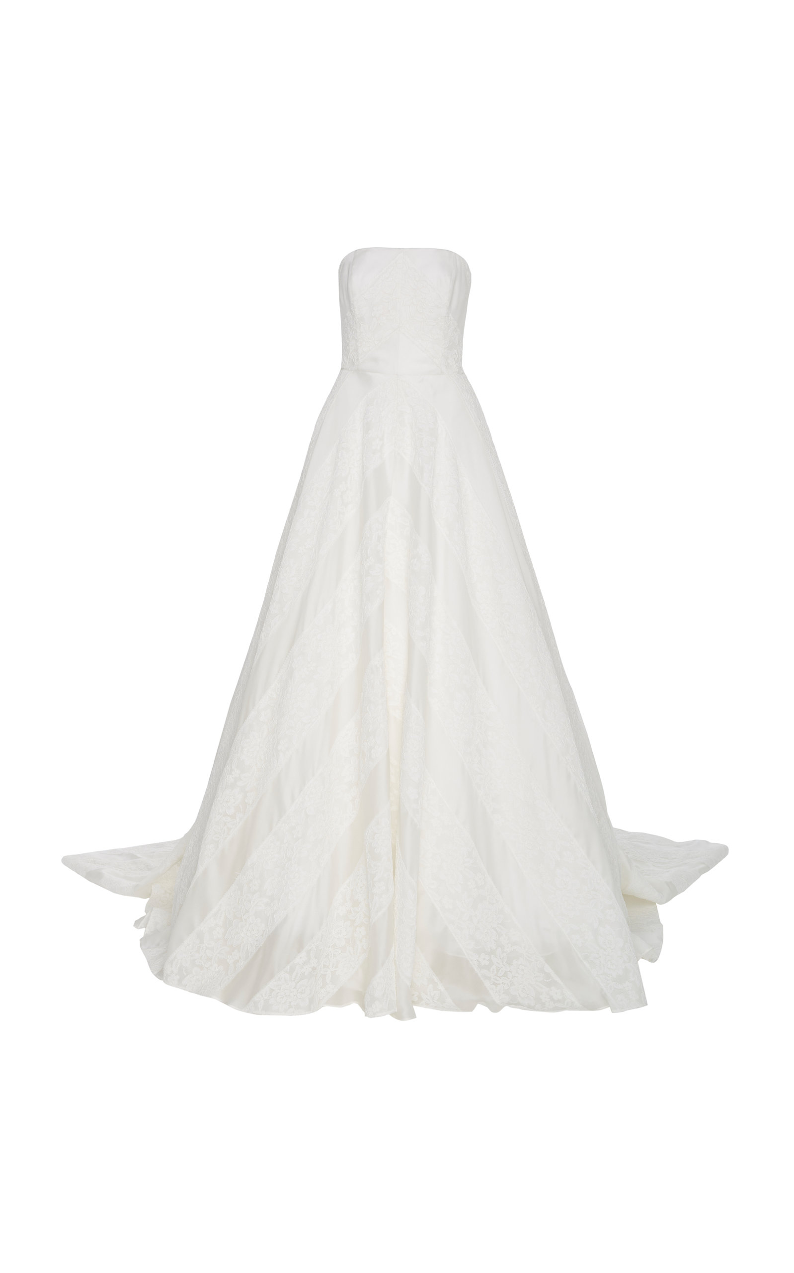 Buy Carolina Herrera Bridal Hudson Lace Overlay Open-Back Silk Ballgown online, shop Carolina Herrera Bridal at the best price