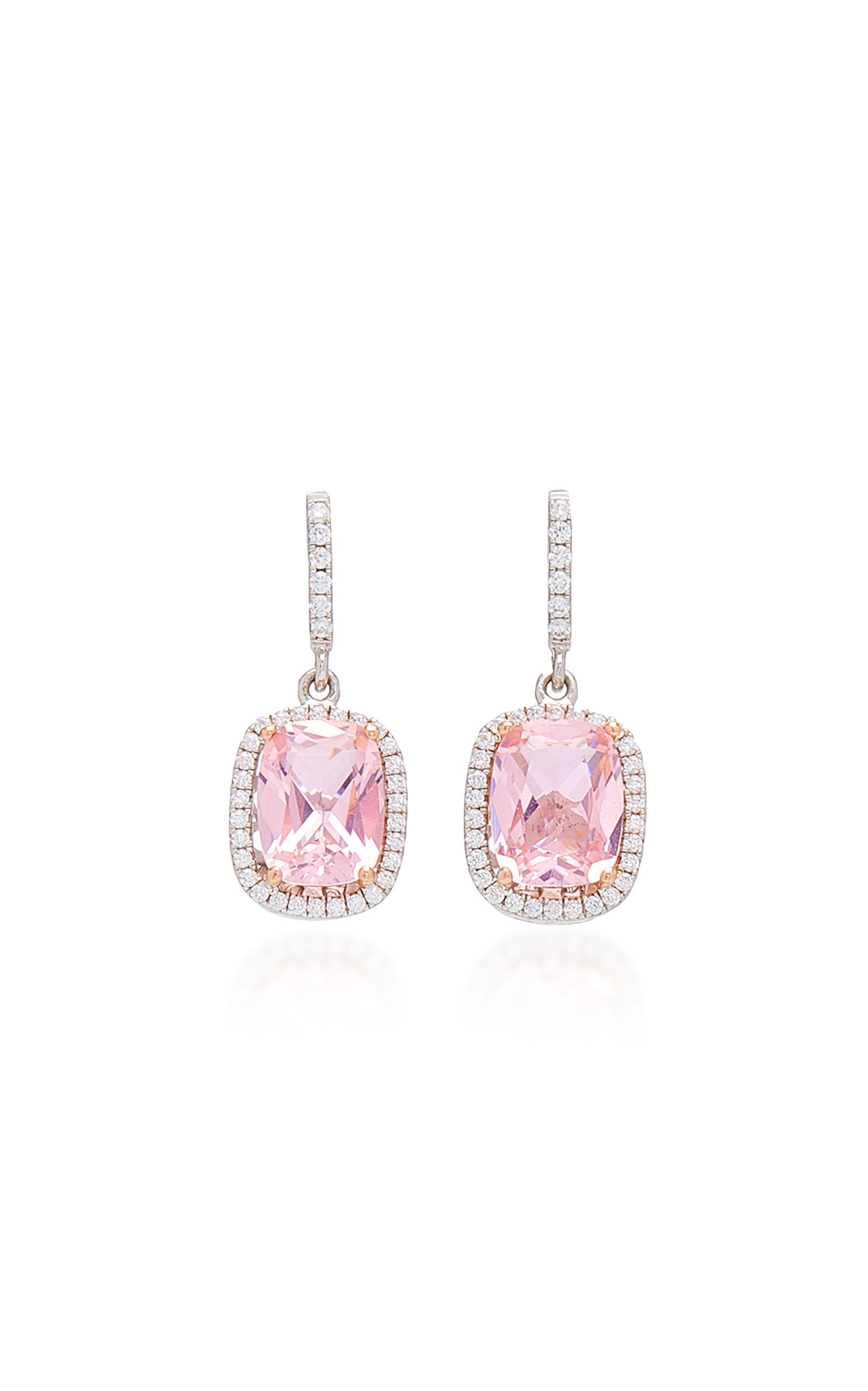 Women's 18K White Gold Vermeil; Morganite; And Diamond Earrings