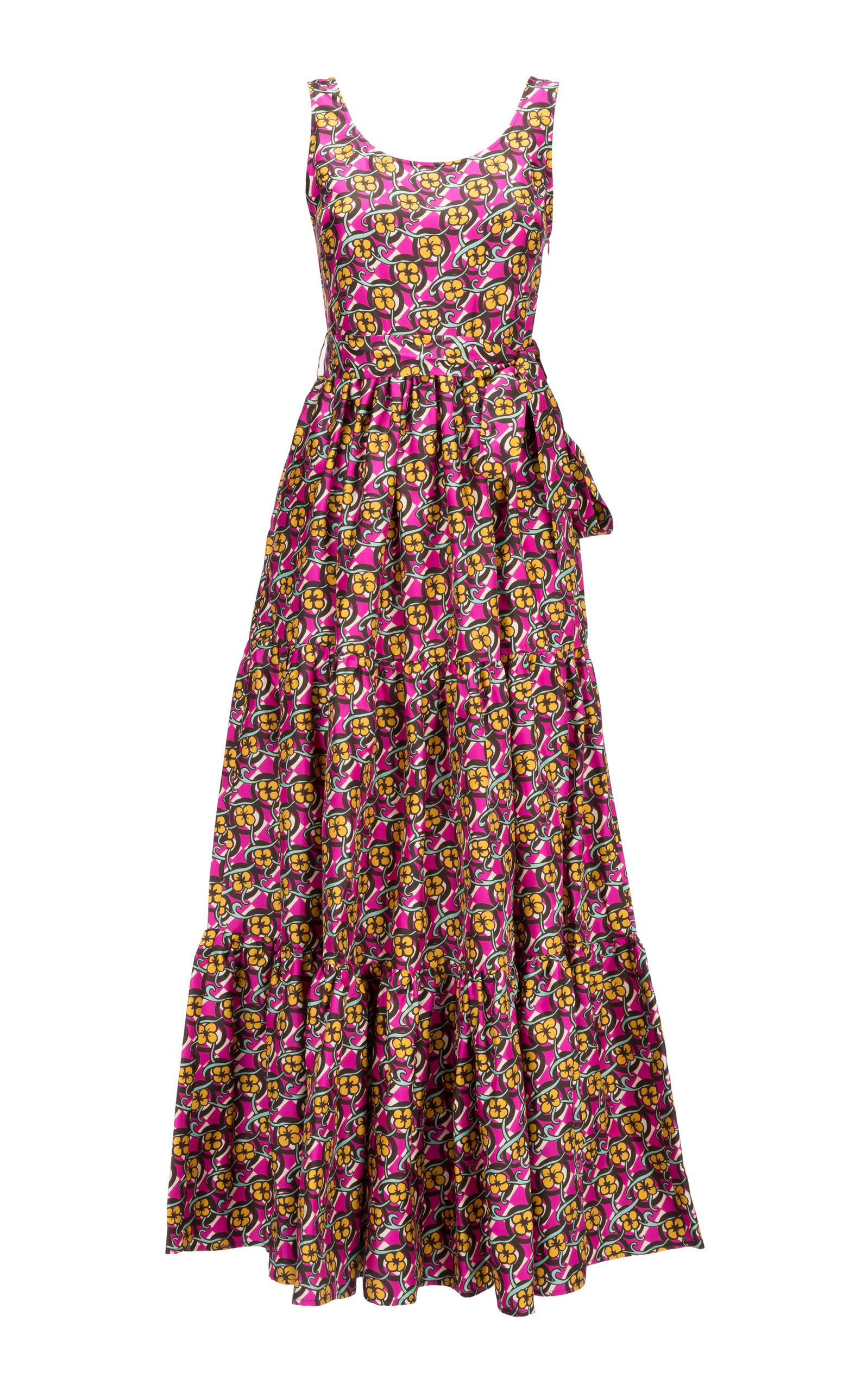 Buy La DoubleJ Pellicano Tiered Silk-Crepe Maxi Dress online, shop La DoubleJ at the best price