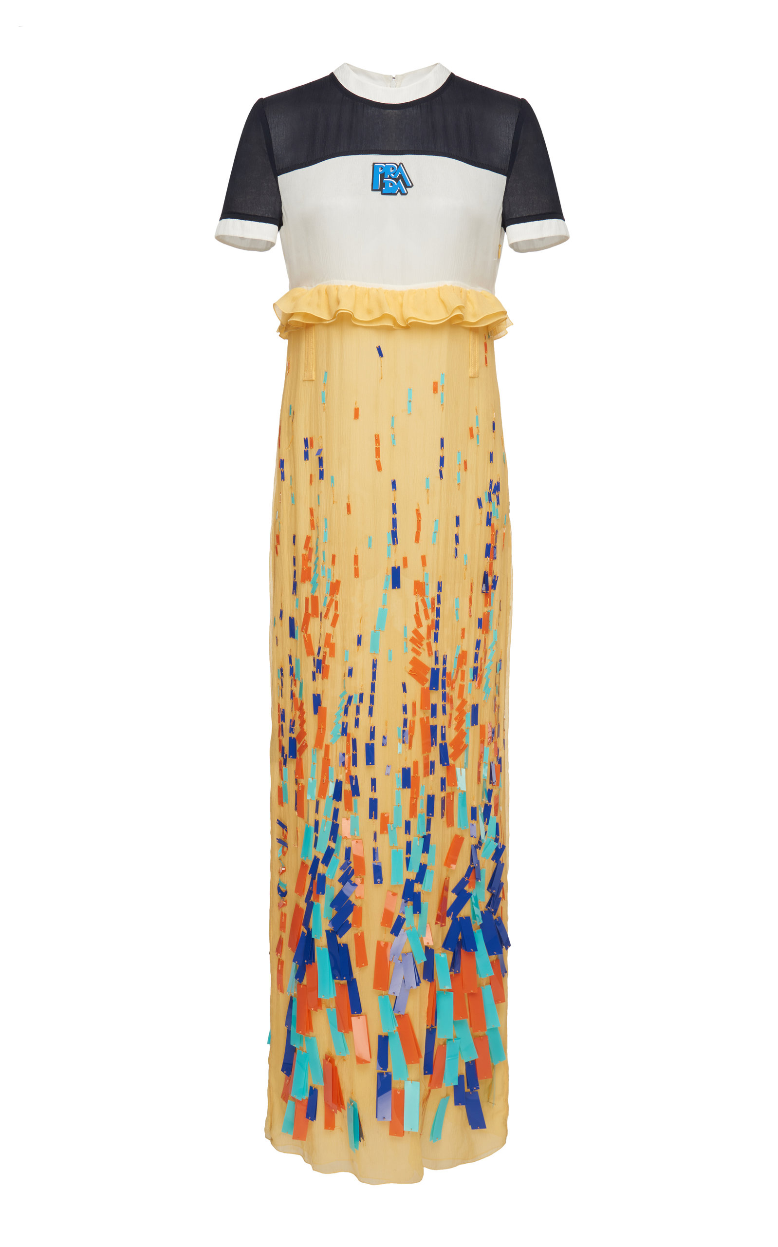 Buy Prada Paneled Embroidered Chiffon Dress online, shop Prada at the best price