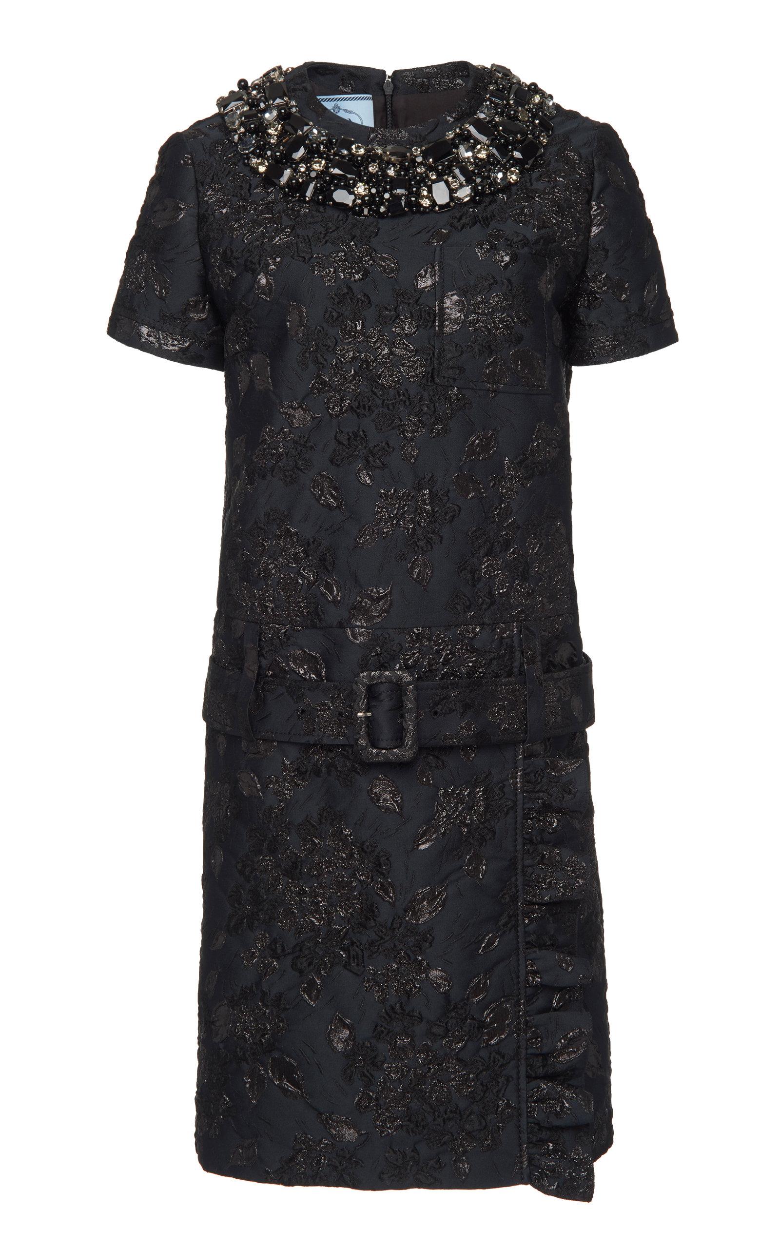 Buy Prada Belted Embellished Brocade Mini Shift Dress online, shop Prada at the best price