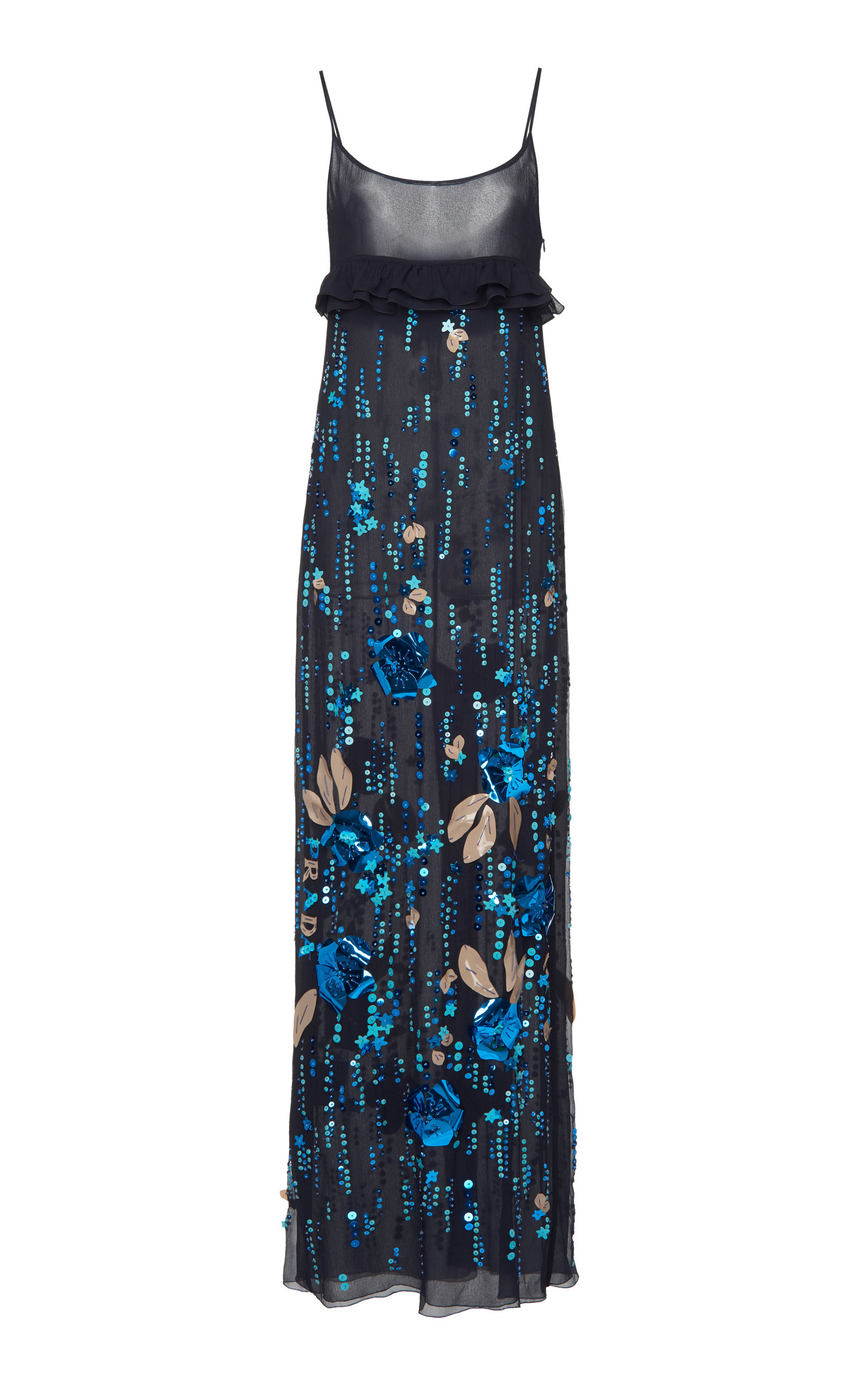 Buy Prada Ruffled Embellished Silk-Chiffon Dress online, shop Prada at the best price