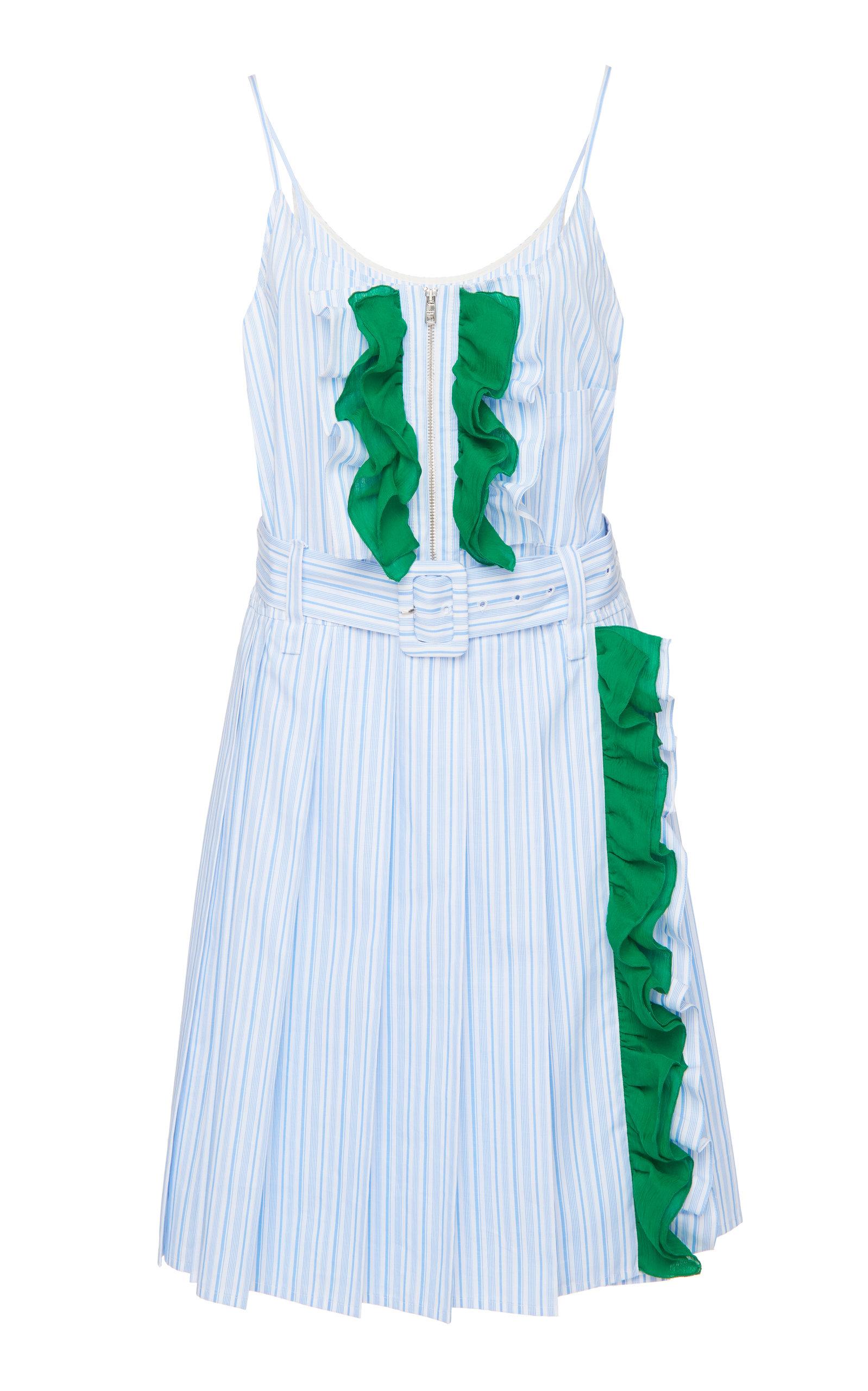 Buy Prada Ruffled Striped Cotton Mini Dress online, shop Prada at the best price