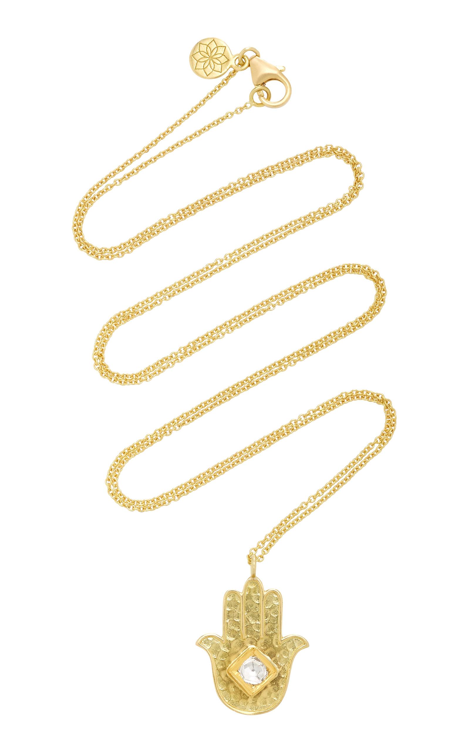Women's Kundan Vintage Diamond And 18K Gold Hamsa Pendant Necklace