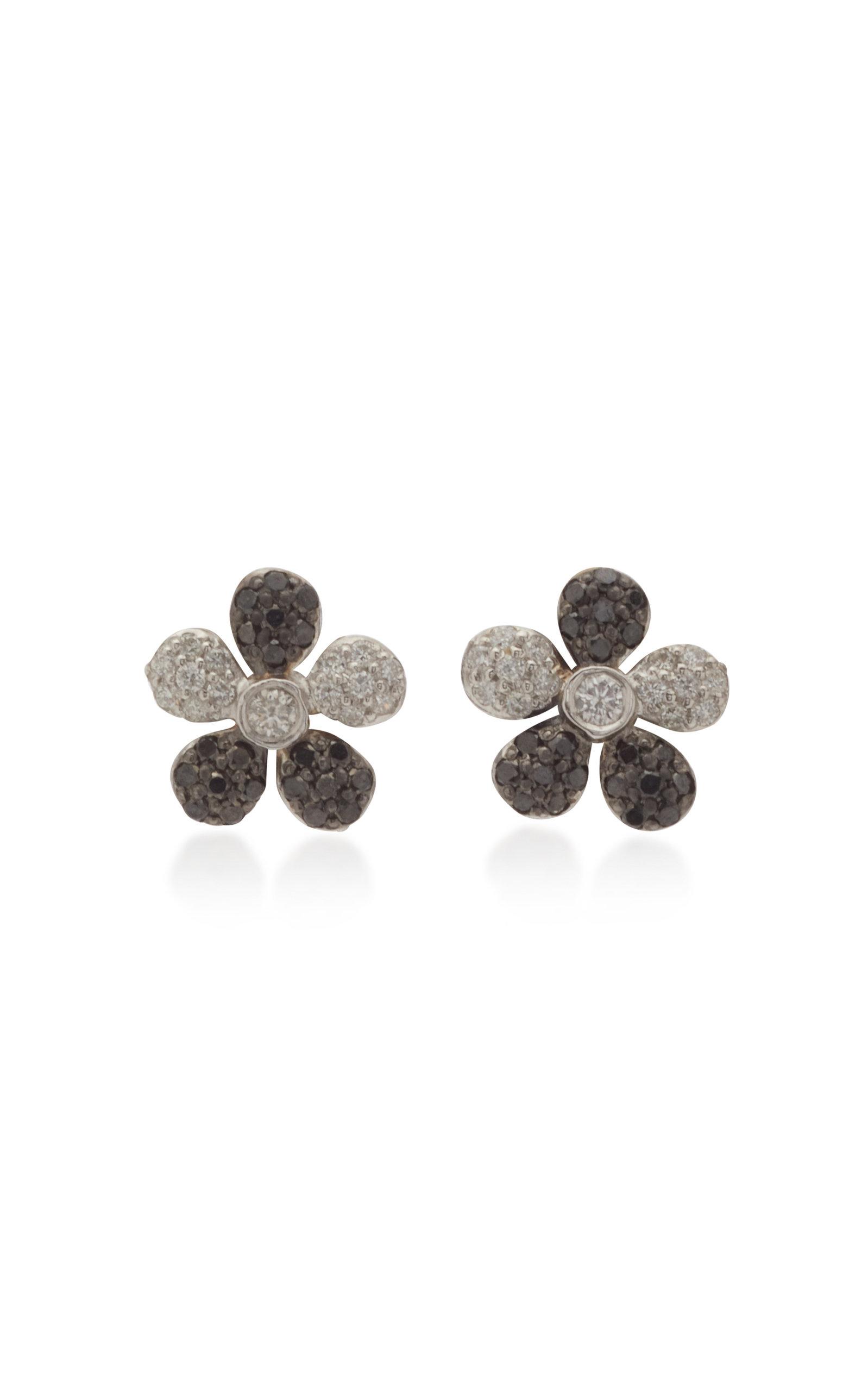 Women's Small Flower 18K White And Black Gold Stud Earrings