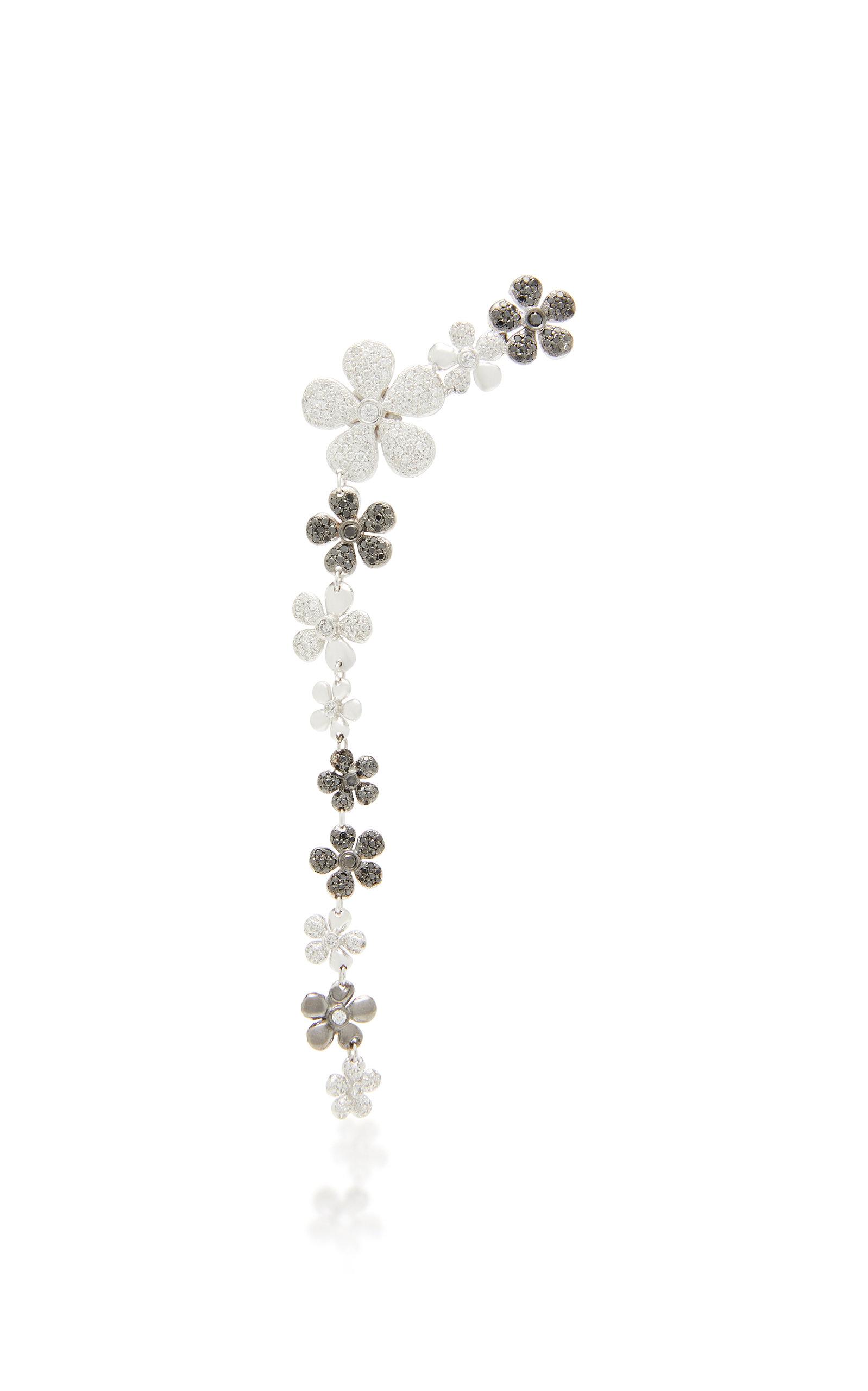 Women's Jasmine 18K Black And White Gold And Diamond Single Drop Earring