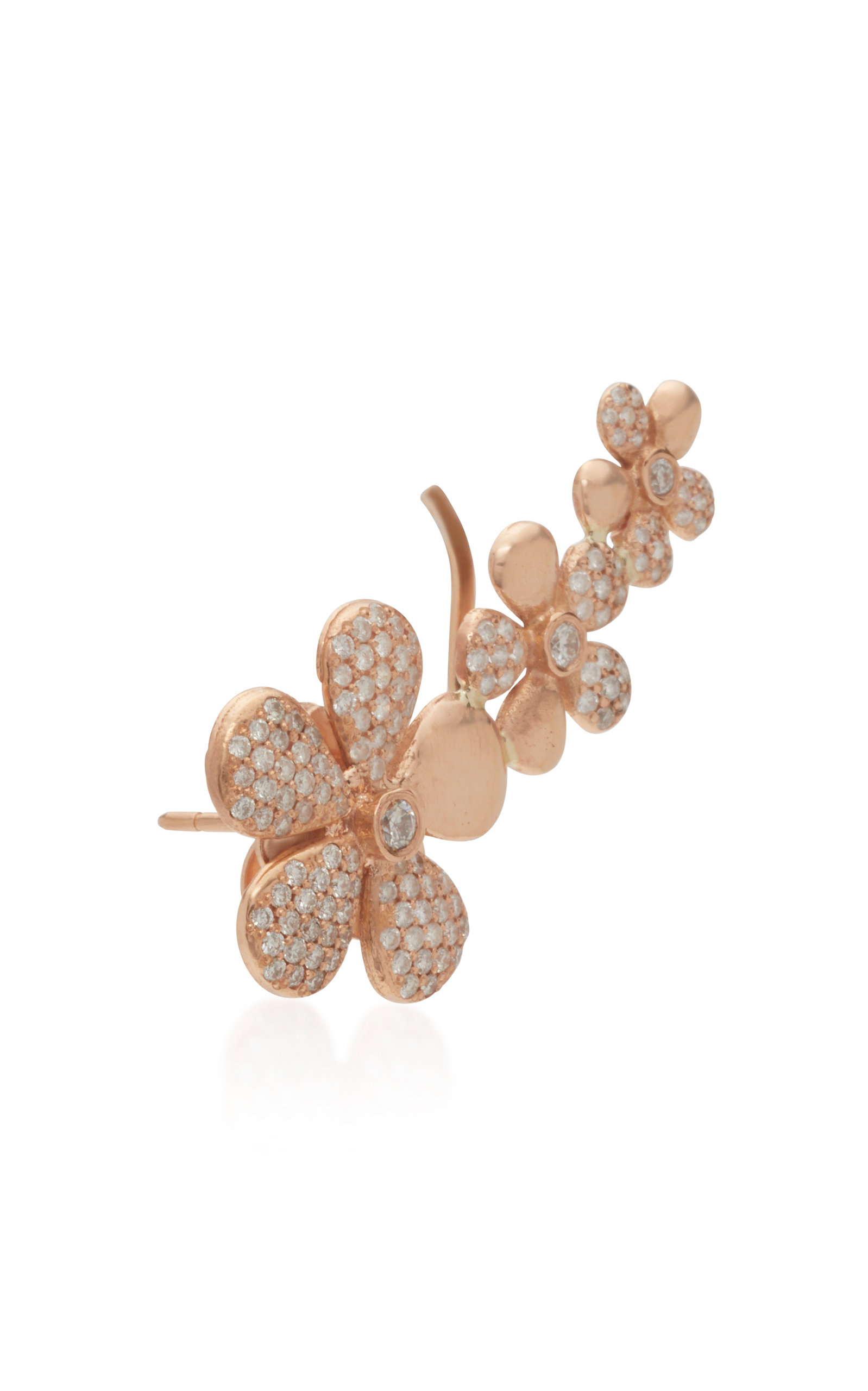 Floral 18k Rose Gold And Diamond Ear Climber By Colette Jewelry