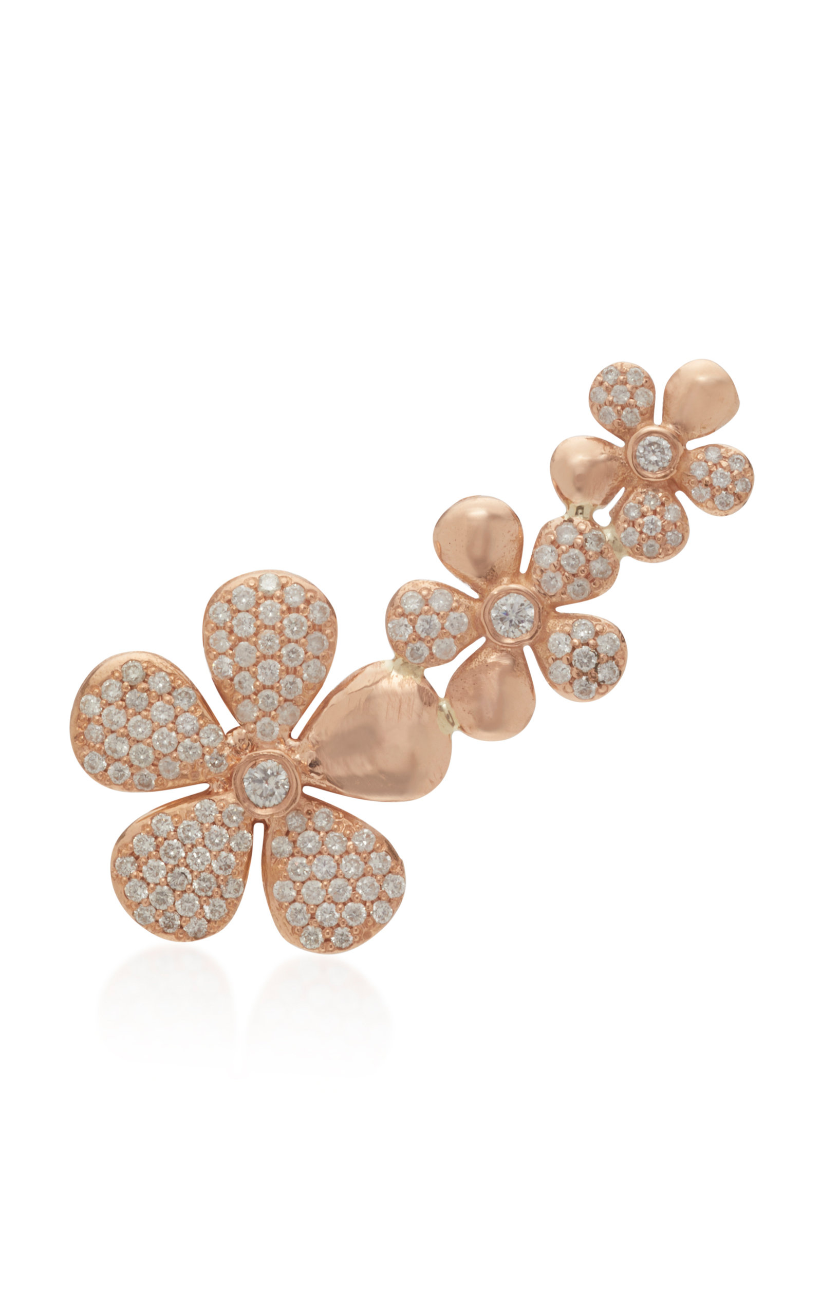Women's Floral 18K Rose Gold And Diamond Ear Climber