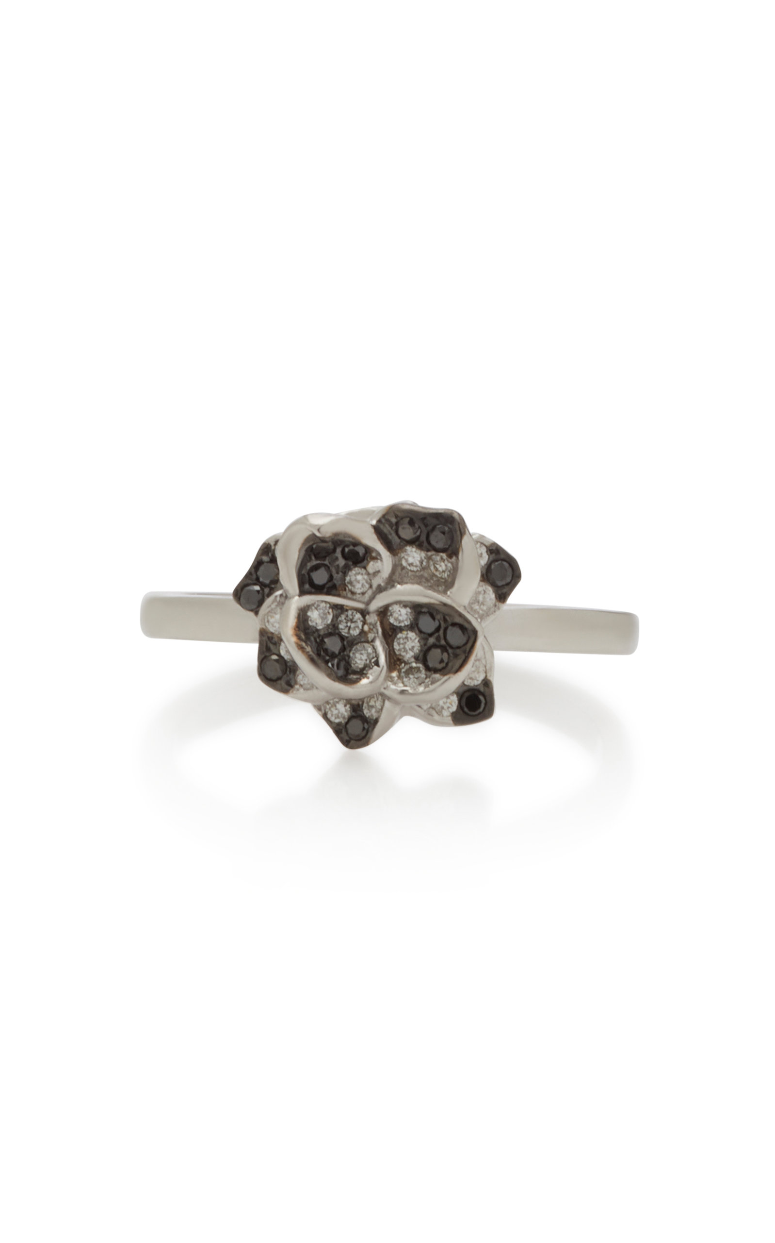 Women's 18K White Gold and Black Diamond Ring