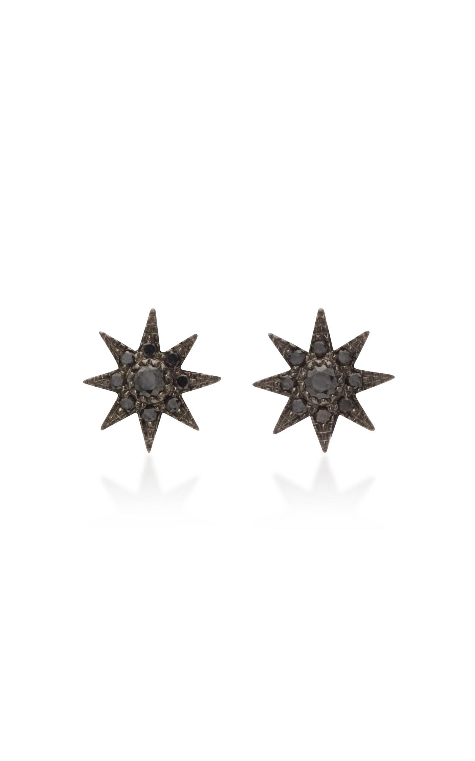 Women's 18K Oxidized Gold and Black Diamond Earrings