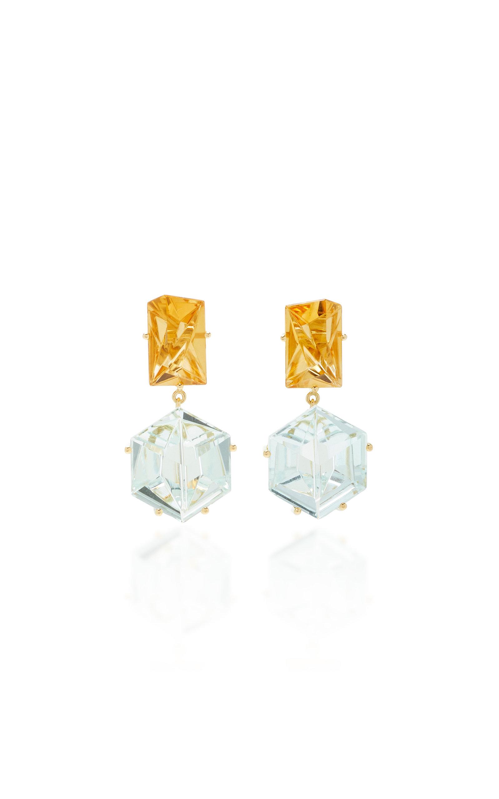 Women's 18K Gold; Aquamarine and Citrine Earrings