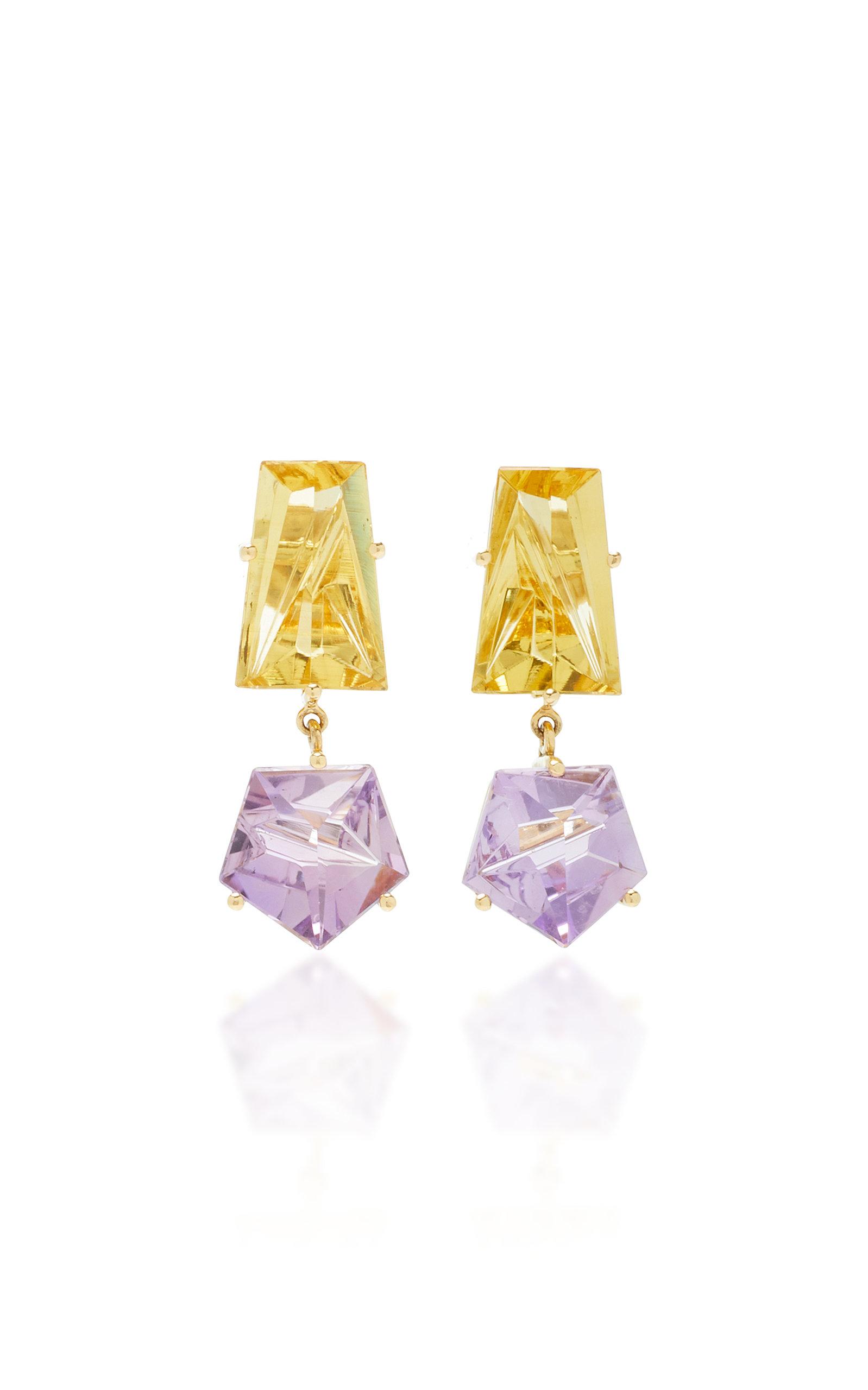 Women's 18K Gold; Amethyst and Beryl Earrings