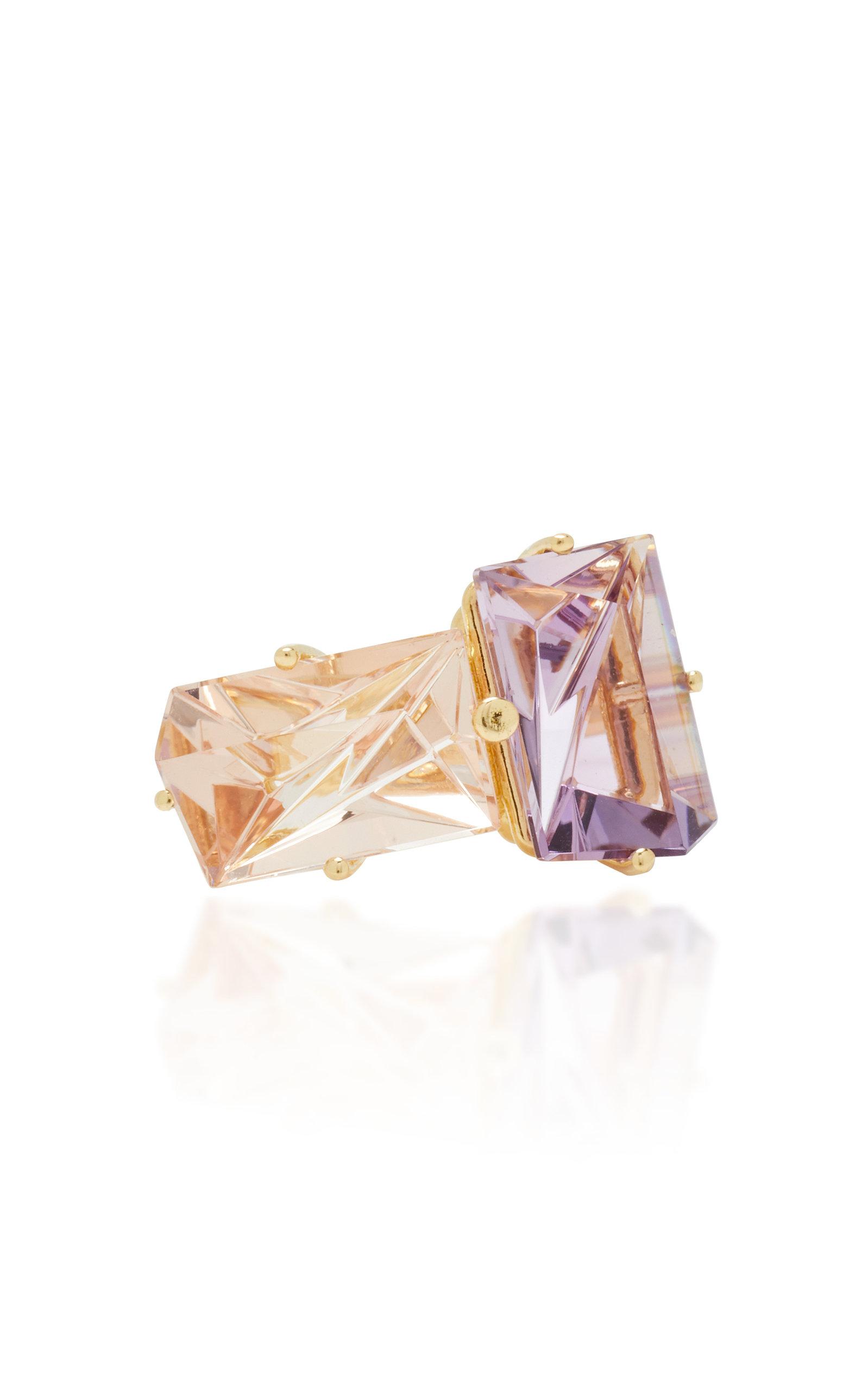 Women's 18K Gold; Morganite and Amethyst Ring