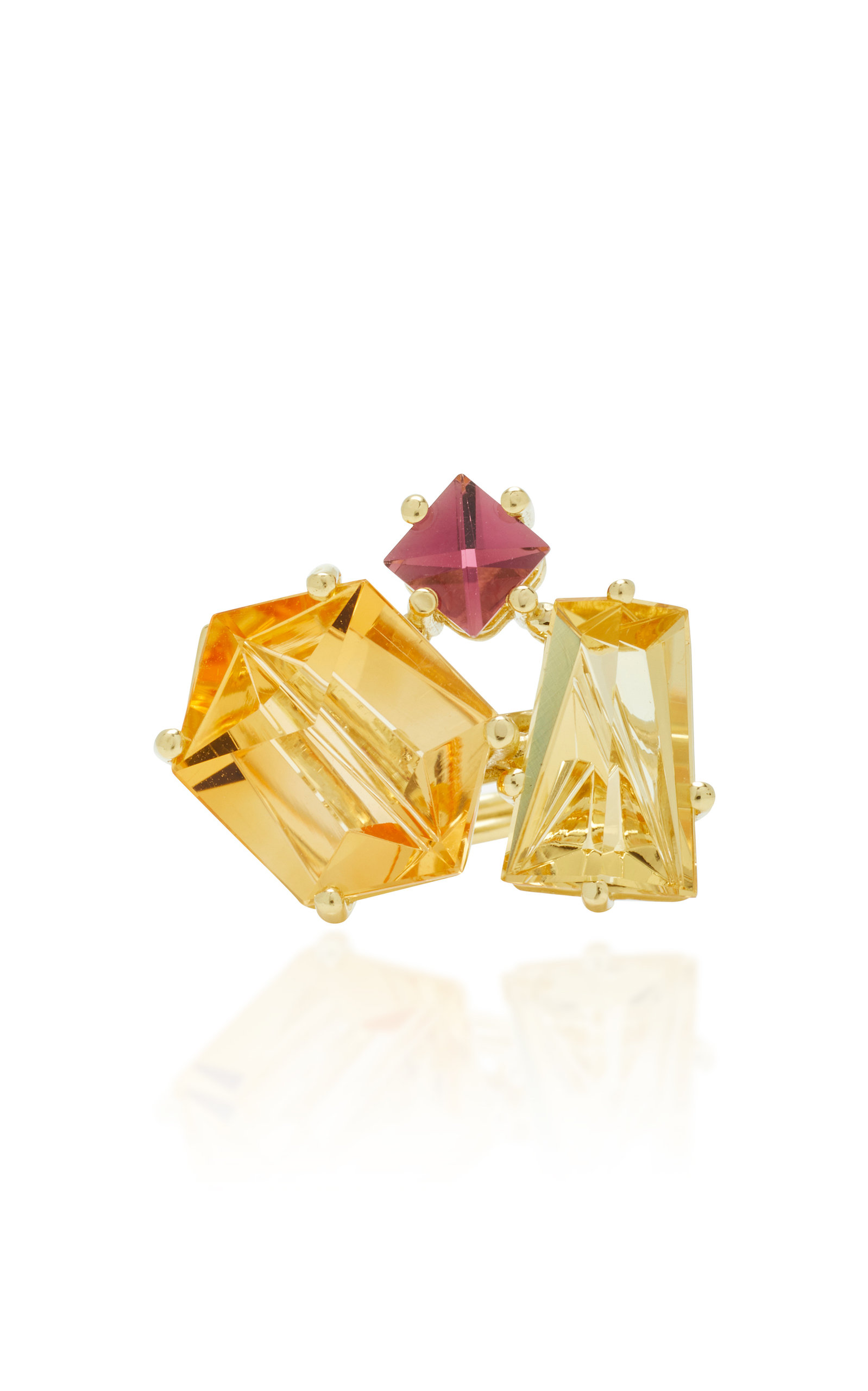 Women's One-Of-A-Kind 18K Gold; Citrine and Beryl Ring