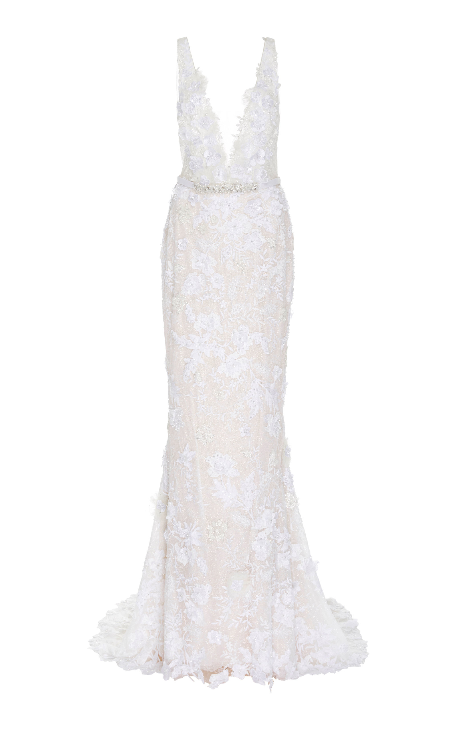 Buy Mira Zwillinger Dara Open-Back Chantilly Lace Sheath Gown online, shop Mira Zwillinger at the best price