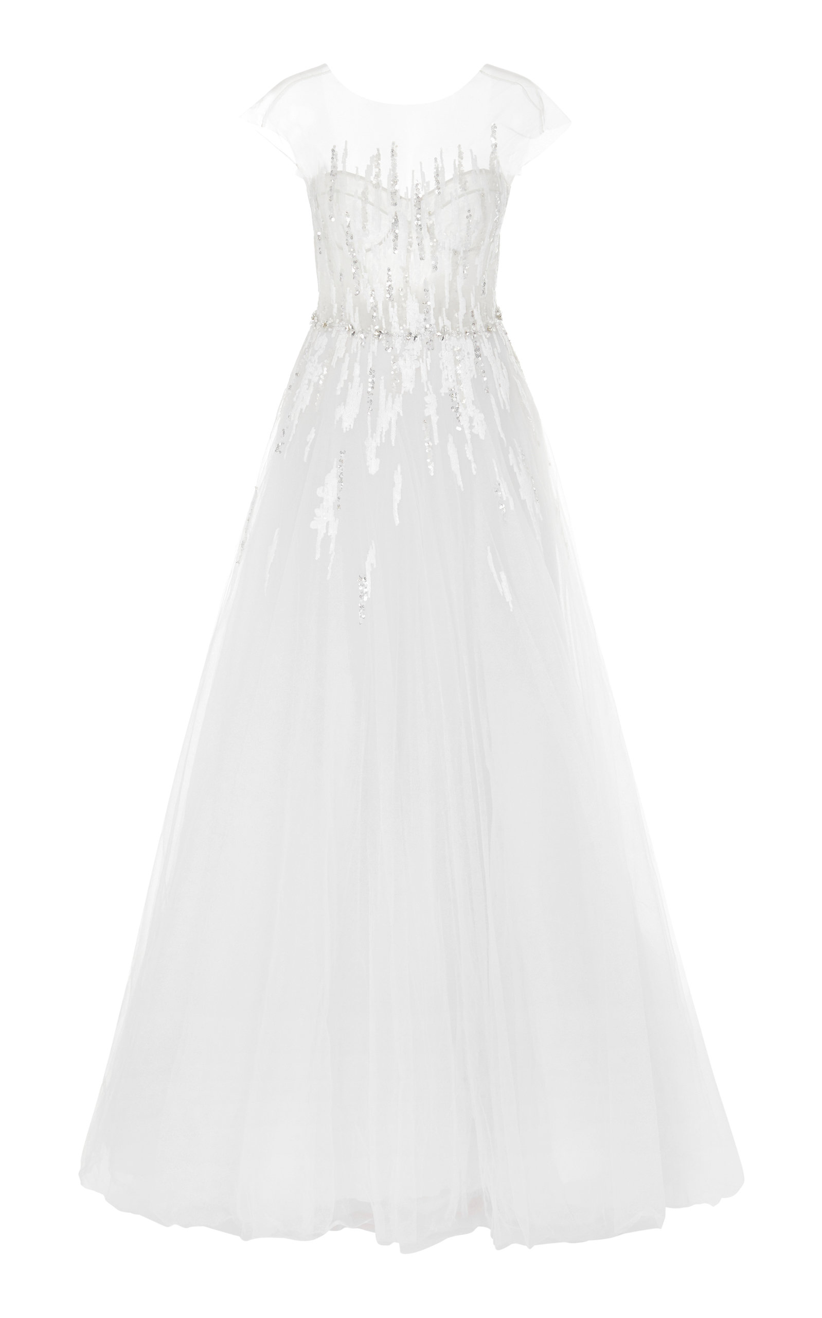 Buy Mira Zwillinger Navara Sequined Silk And Cotton-Blend Tulle Gown online, shop Mira Zwillinger at the best price