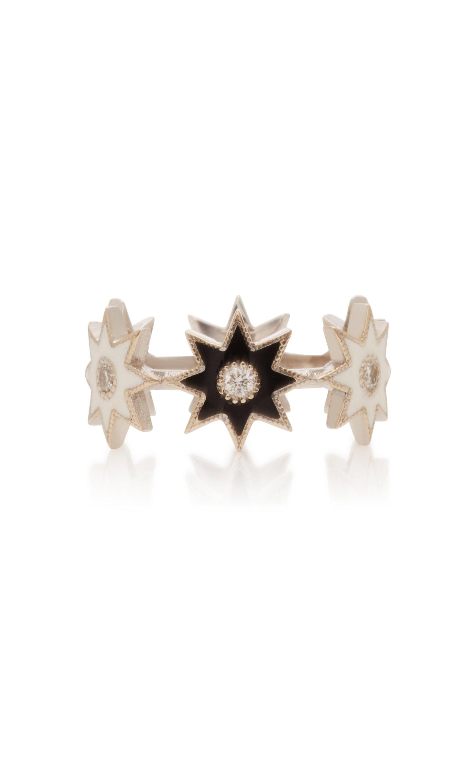 Women's 18K White Gold; Enamel And Diamond Ring