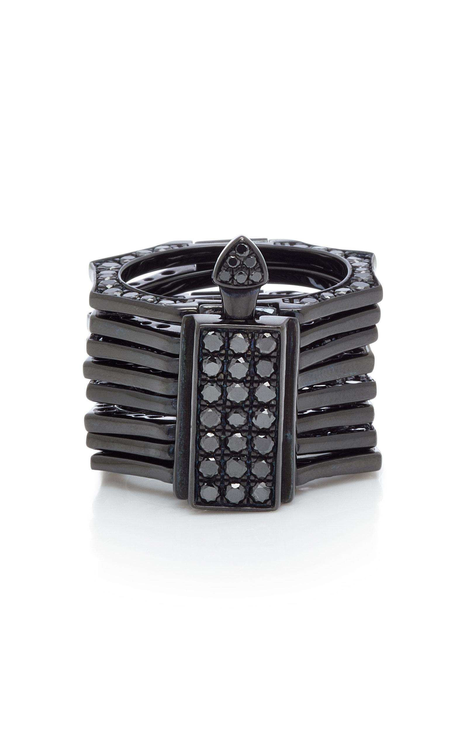 Women's Reverso Rhodium and Black Diamond Convertible Ring