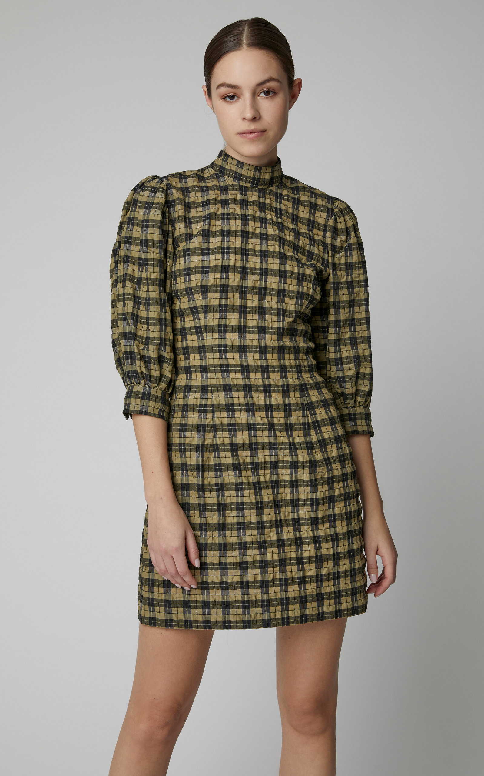 Seersucker Checked Cotton Blend Mini Dress By Ganni Moda Operandi