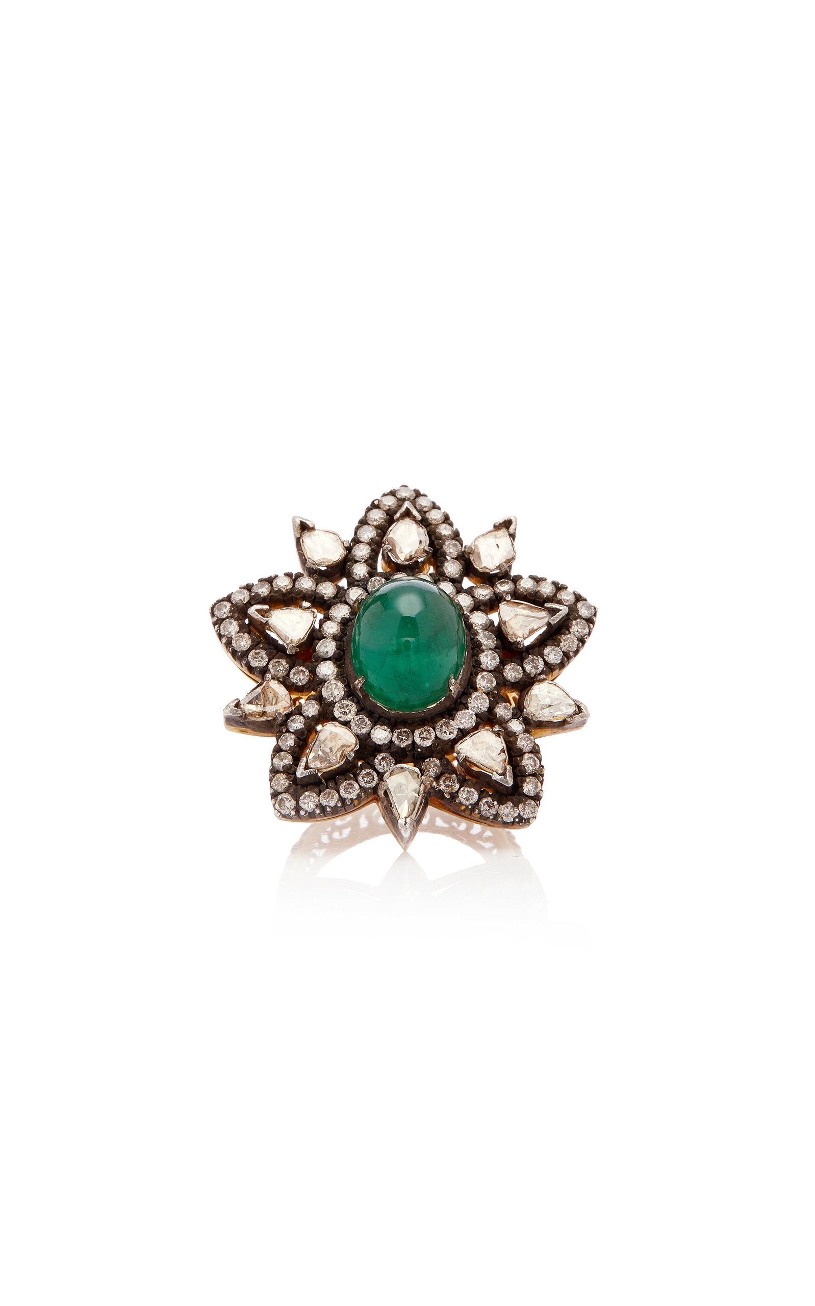 Women's 14K Gold; Emerald And Diamond Ring