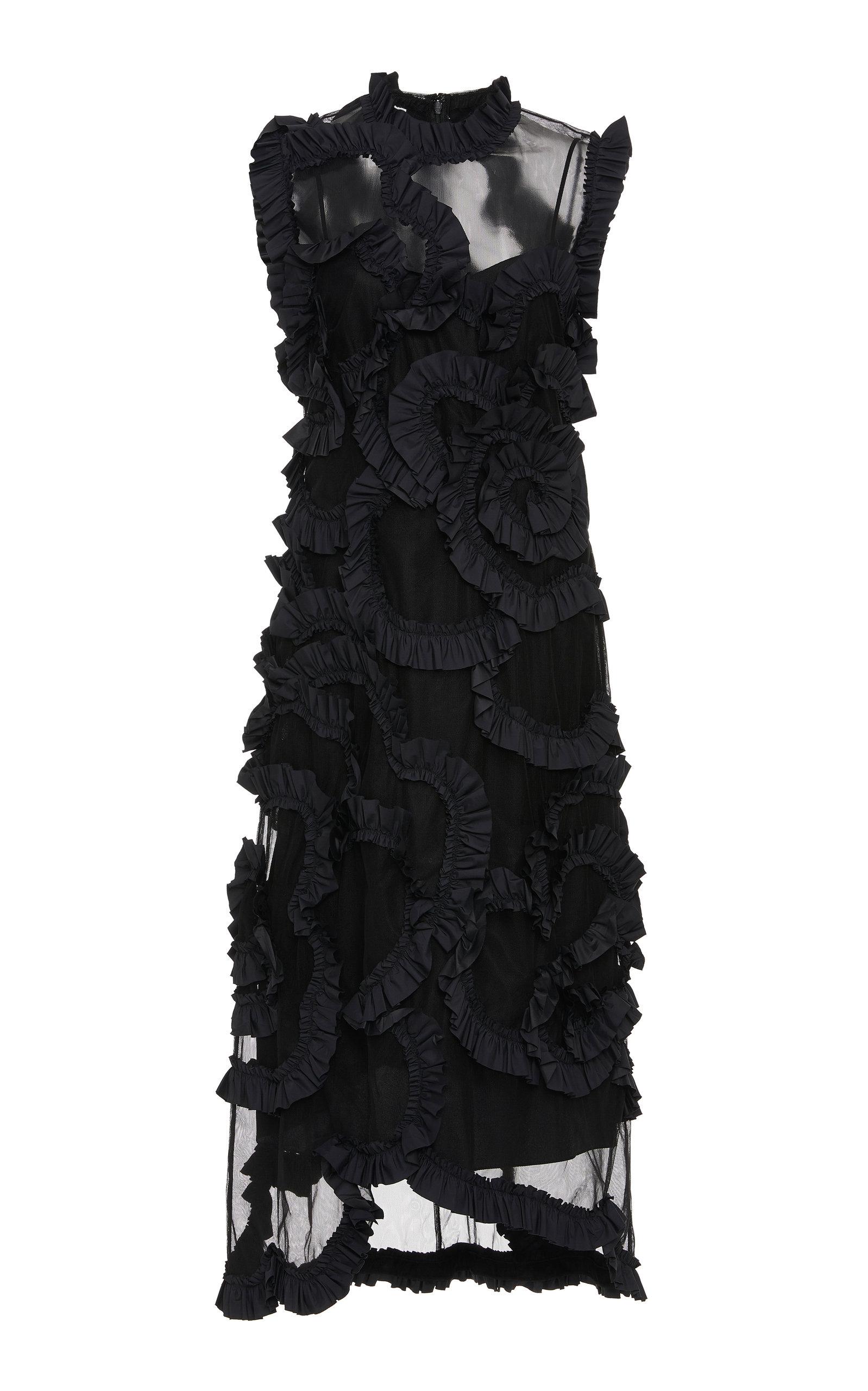 Buy Moncler Genius + Simone Rocha Ruffled Silk-Chiffon Midi Dress online, shop Moncler Genius at the best price